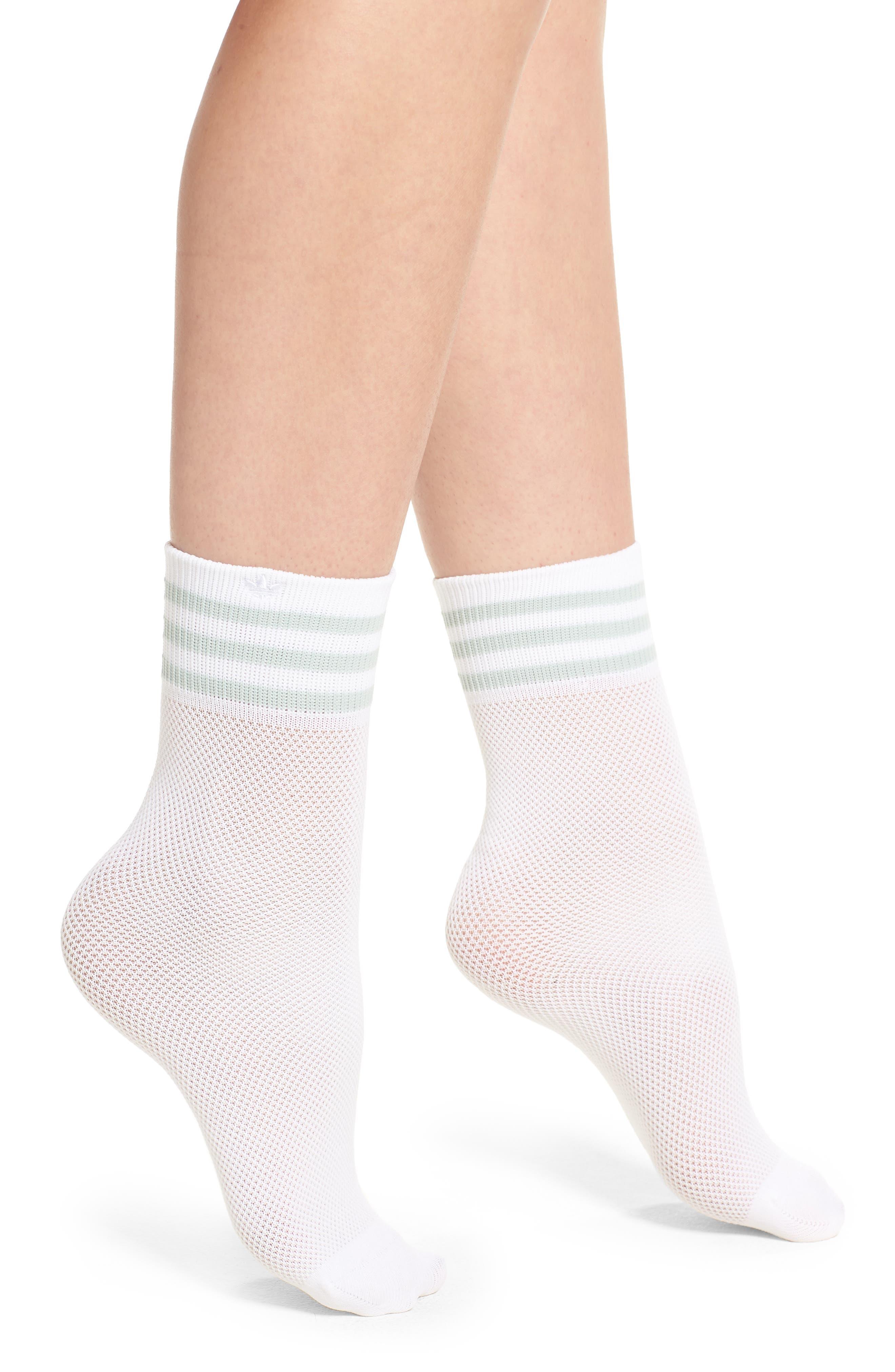 ADIDAS,                             Stripe Mesh Ankle Socks,                             Main thumbnail 1, color,                             100