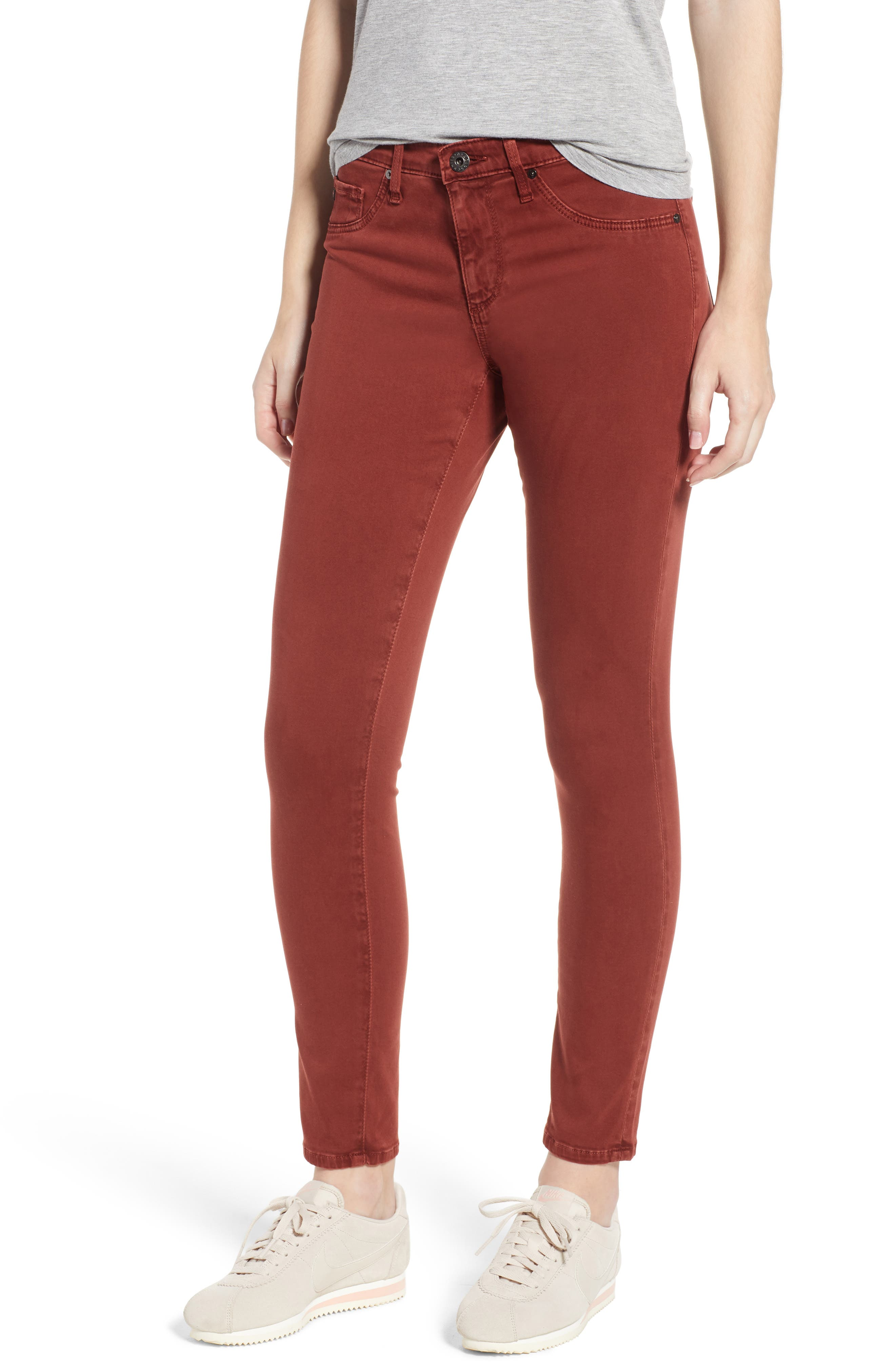 The Legging Ankle Jeans,                         Main,                         color, SULFUR TANNIC RED