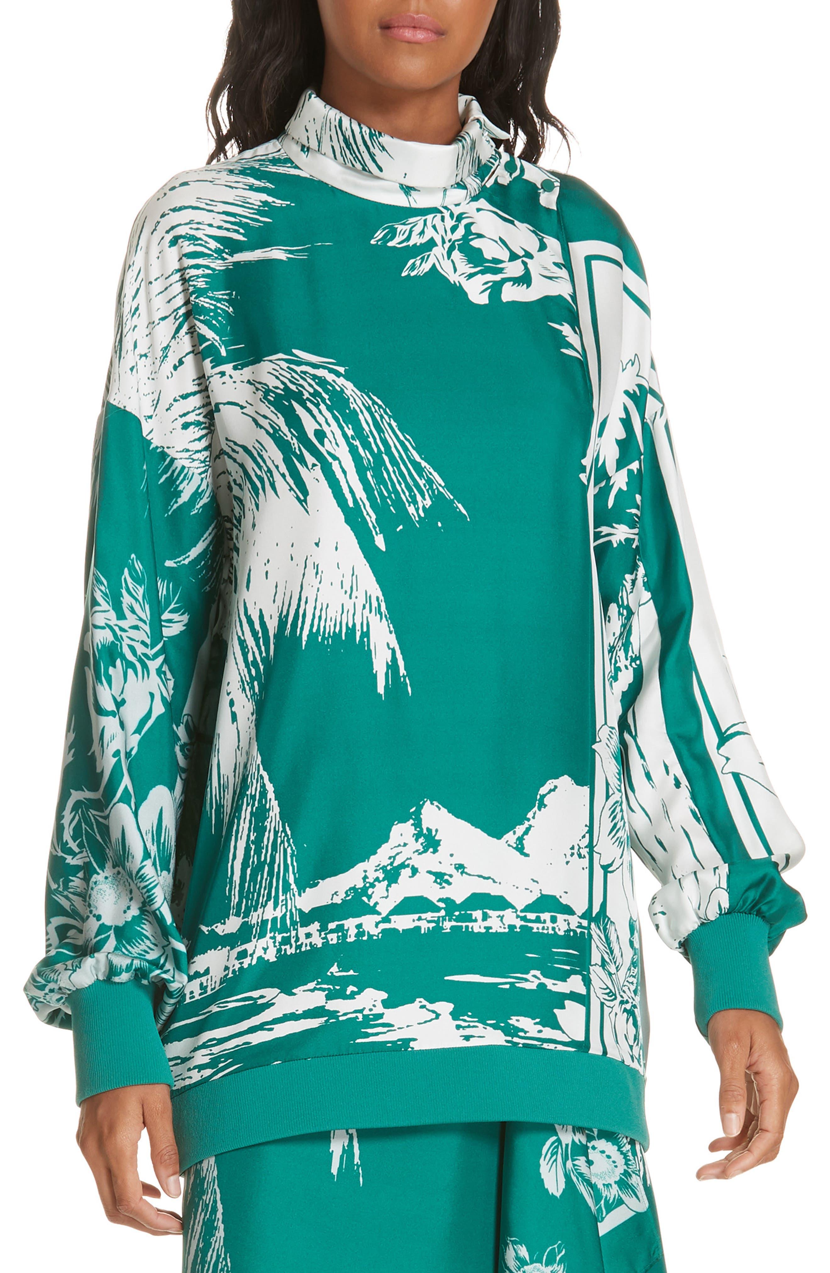 Leilani Print Silk Twill Blouse, Main, color, TEAL GREEN MULTI