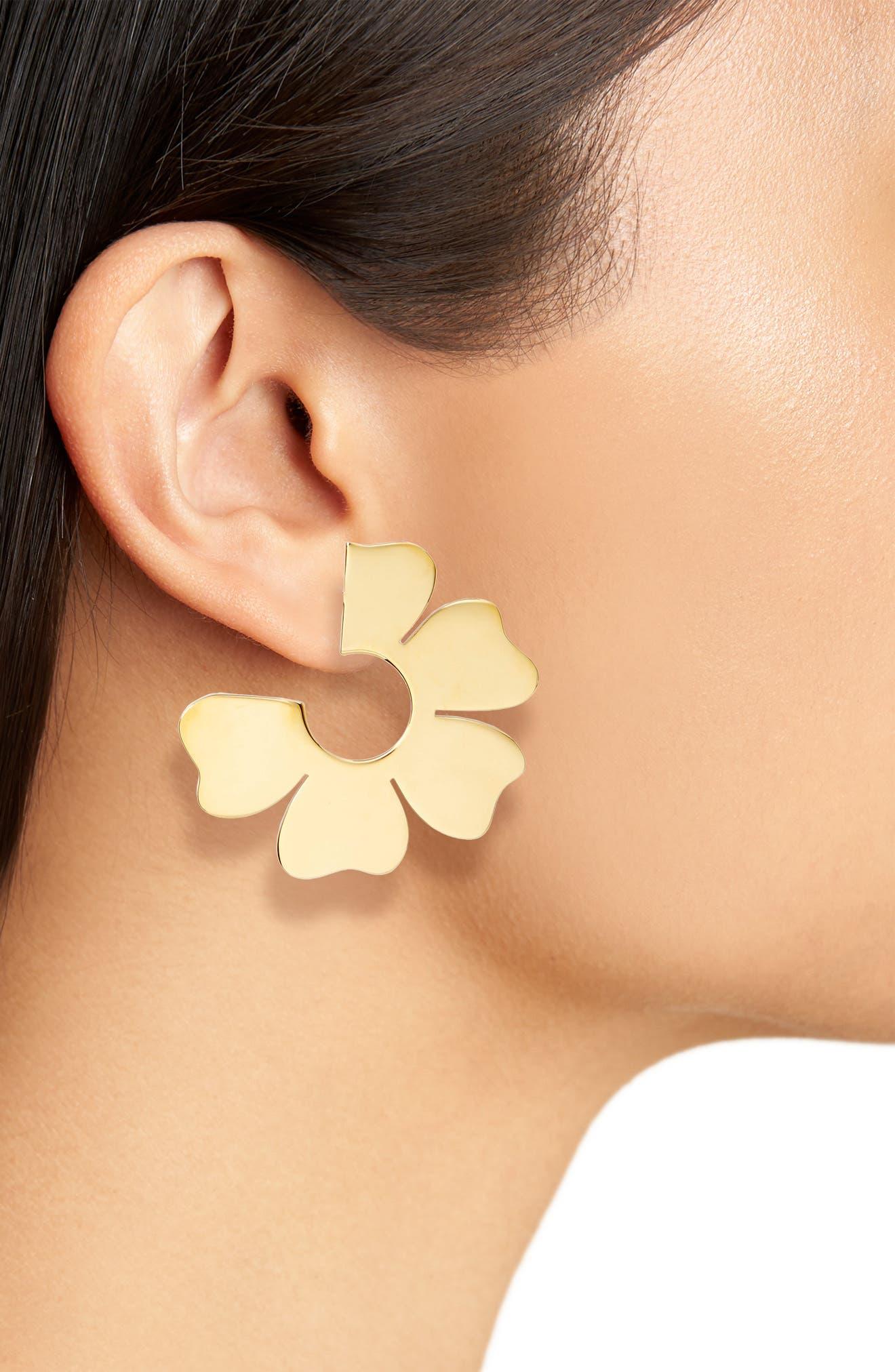 Flat Flower Hoop Earrings,                             Alternate thumbnail 2, color,                             715