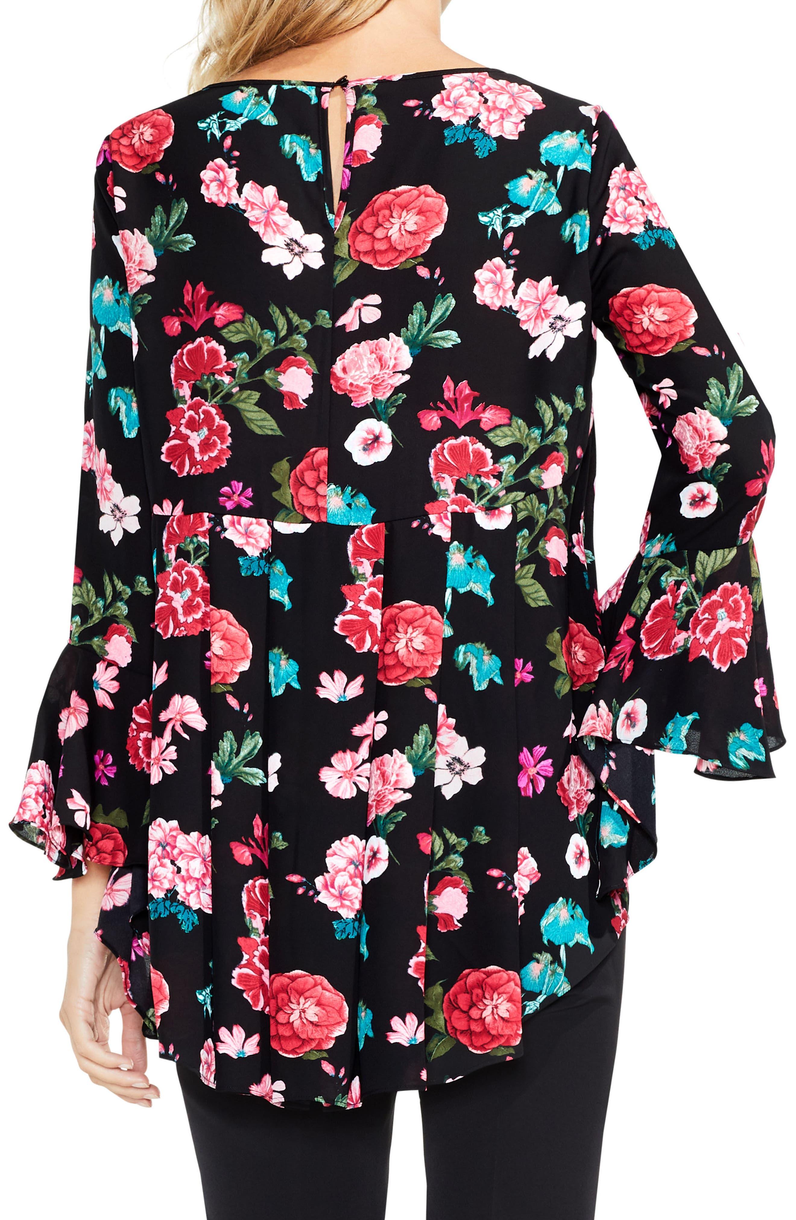 Floral Heirloom Bell Sleeve Top,                             Alternate thumbnail 4, color,