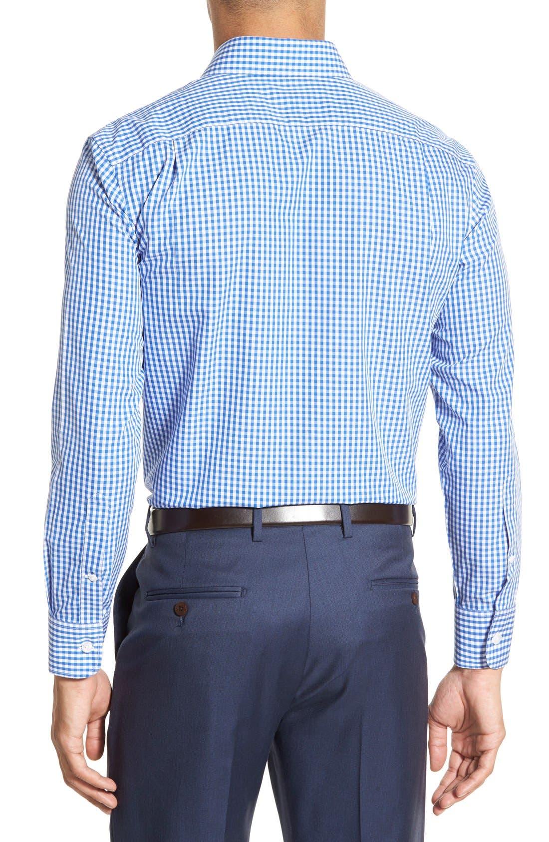 Slim Fit Wrinkle Free Check Dress Shirt,                             Alternate thumbnail 4, color,                             BAY BLUE