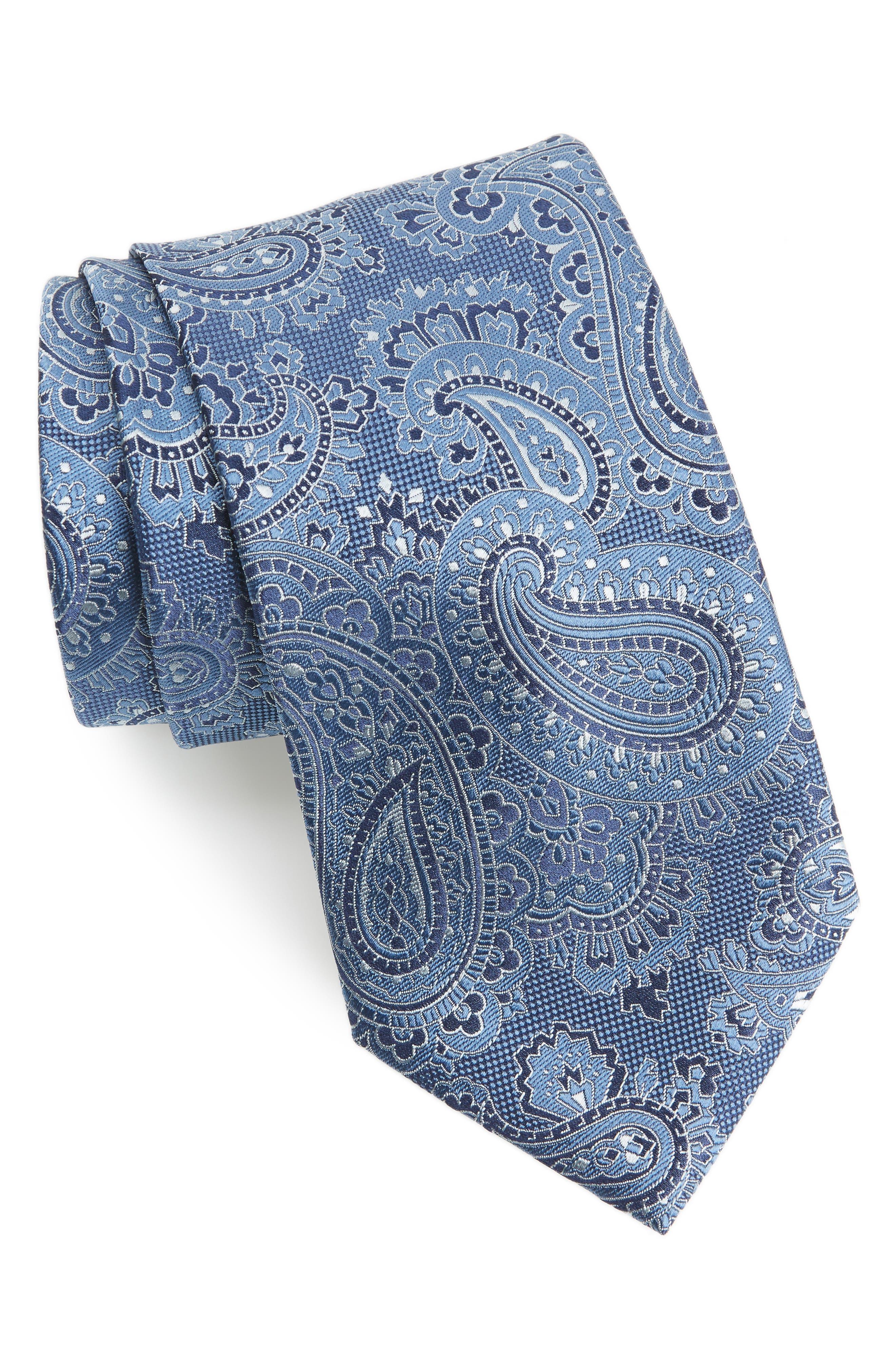 Paisley Silk Tie,                         Main,                         color, BLUE MULTI