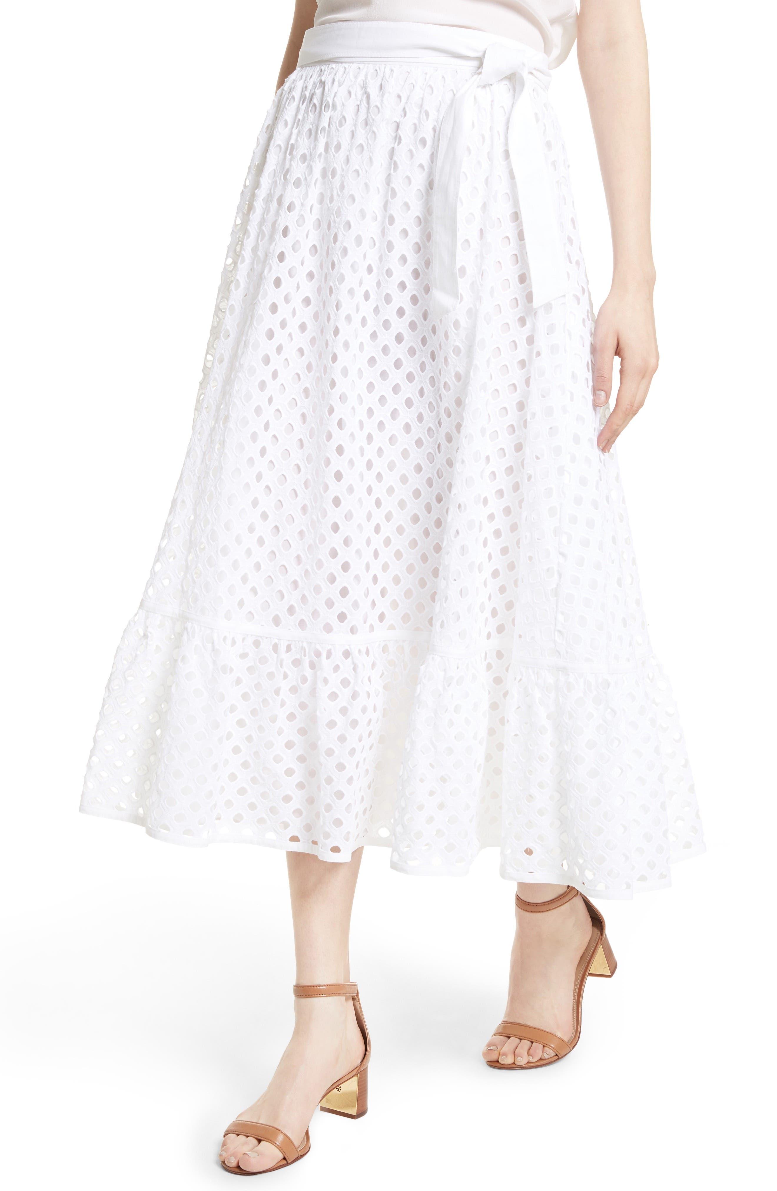 Hermosa Eyelet Midi Skirt,                             Alternate thumbnail 3, color,                             100