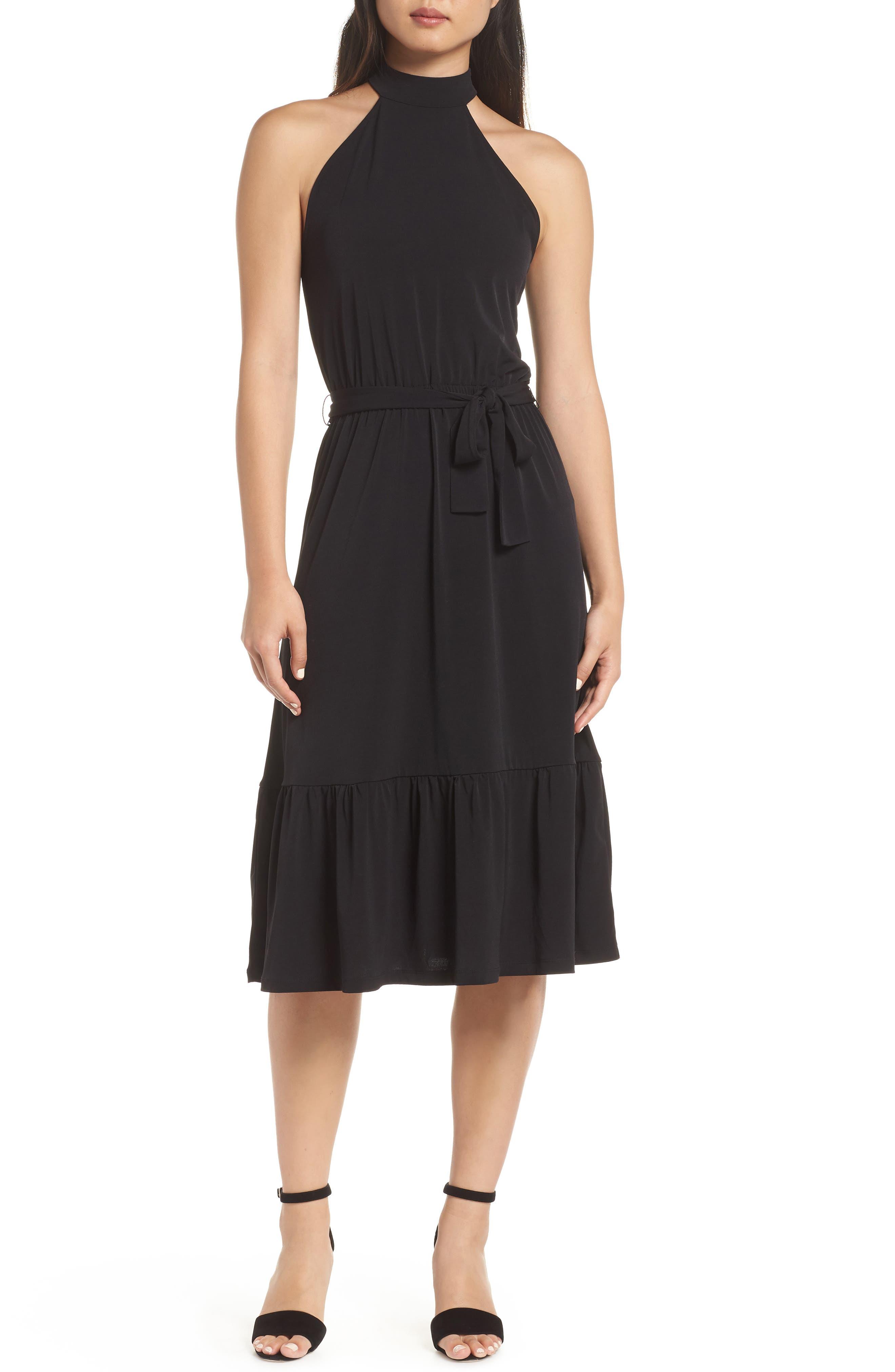 MICHAEL MICHAEL KORS,                             Halter Midi Dress,                             Main thumbnail 1, color,                             BLACK