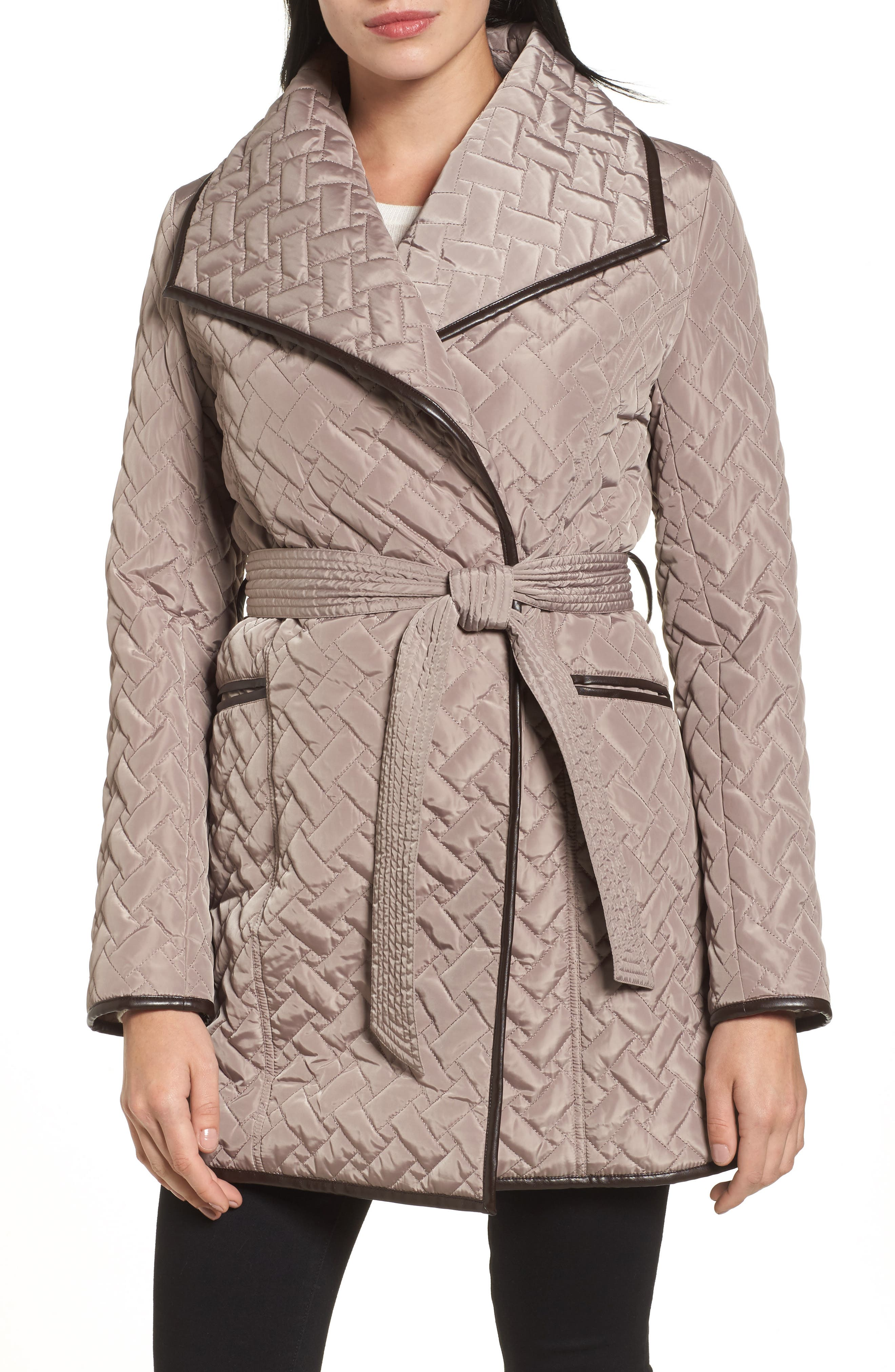 Water Resistant Quilted Wrap Coat,                         Main,                         color, 284