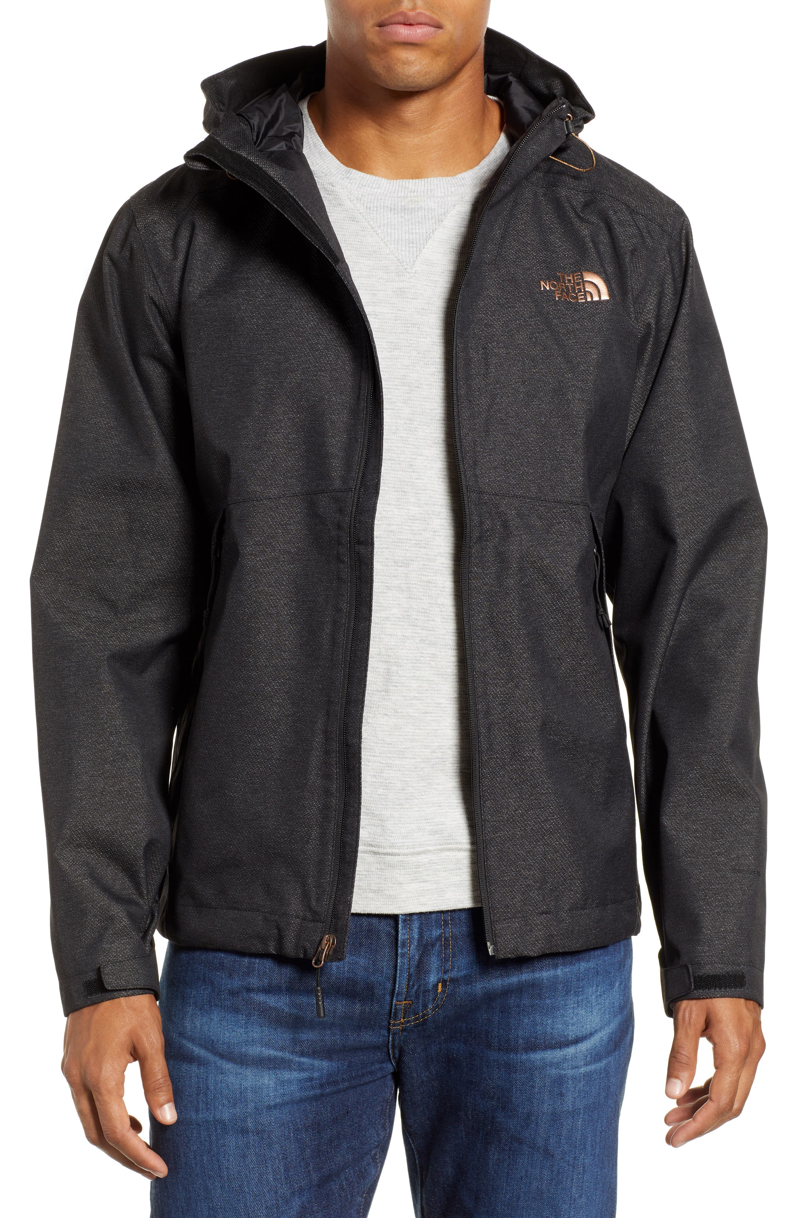 Millerton Hooded Waterproof Jacket,                         Main,                         color, TNF BLACK / METALLIC COPPER