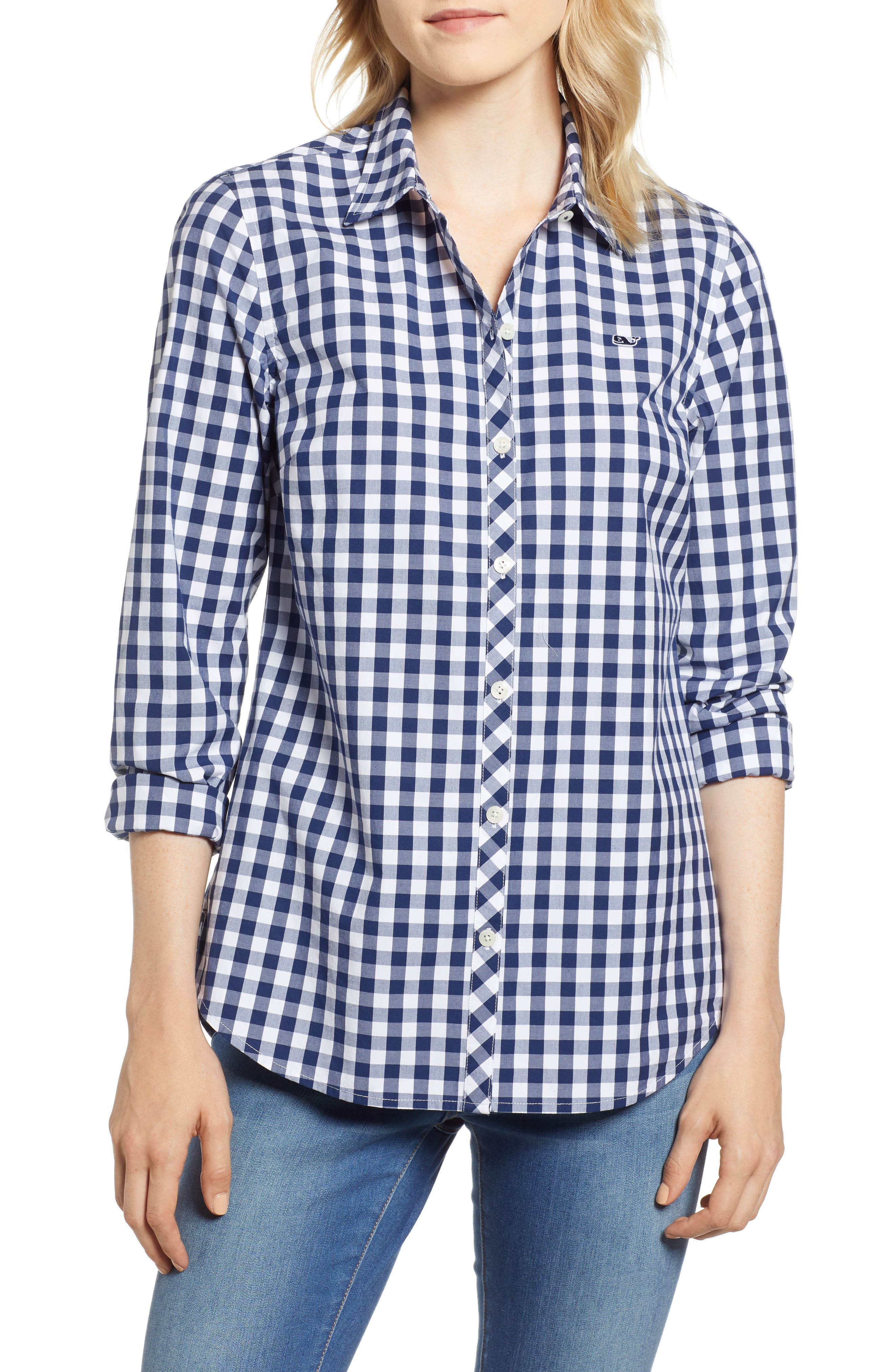 Mini Gingham Classic Button Down Shirt,                         Main,                         color, 476
