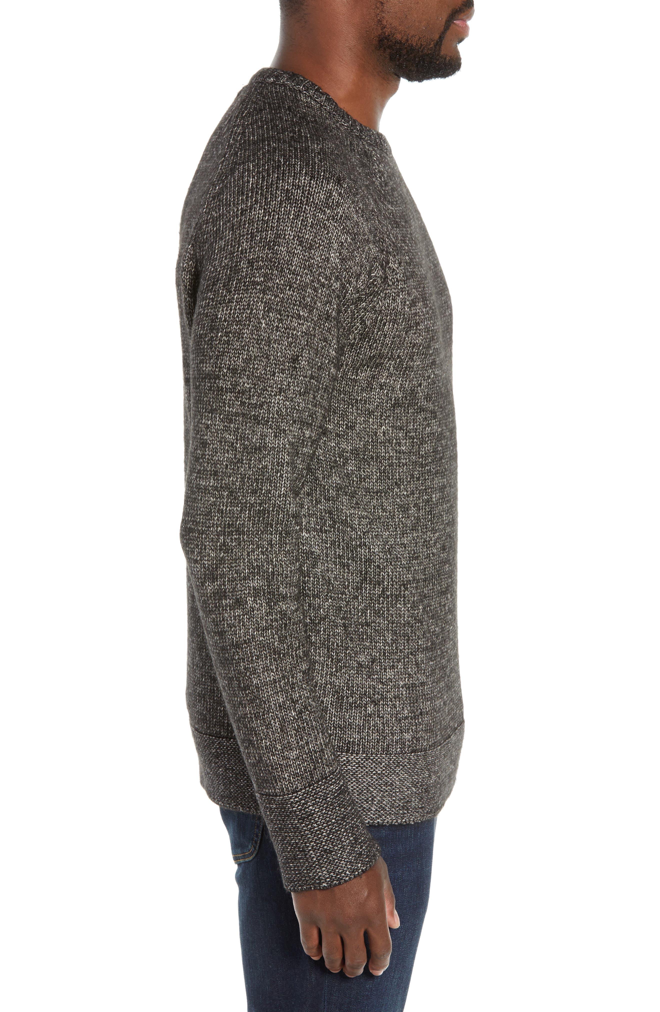 Multi Yarn Crewneck Raglan Sweater,                             Alternate thumbnail 3, color,                             BLACK