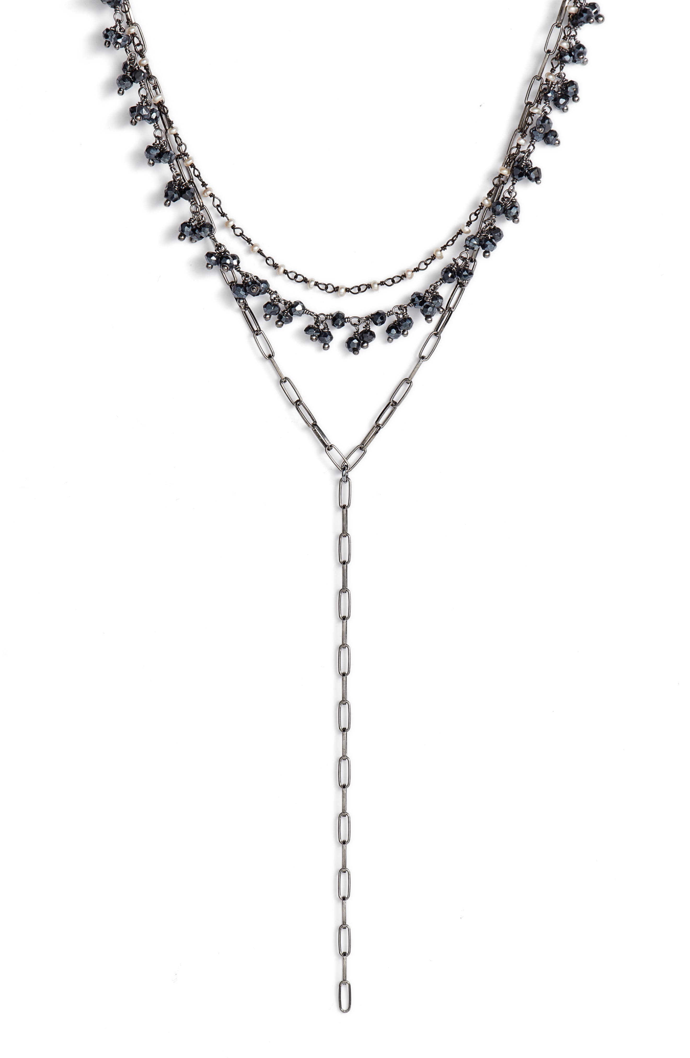 Layered Lariat Necklace,                         Main,                         color, MYSTIC BLACK SPINEL SHAKER/ RH
