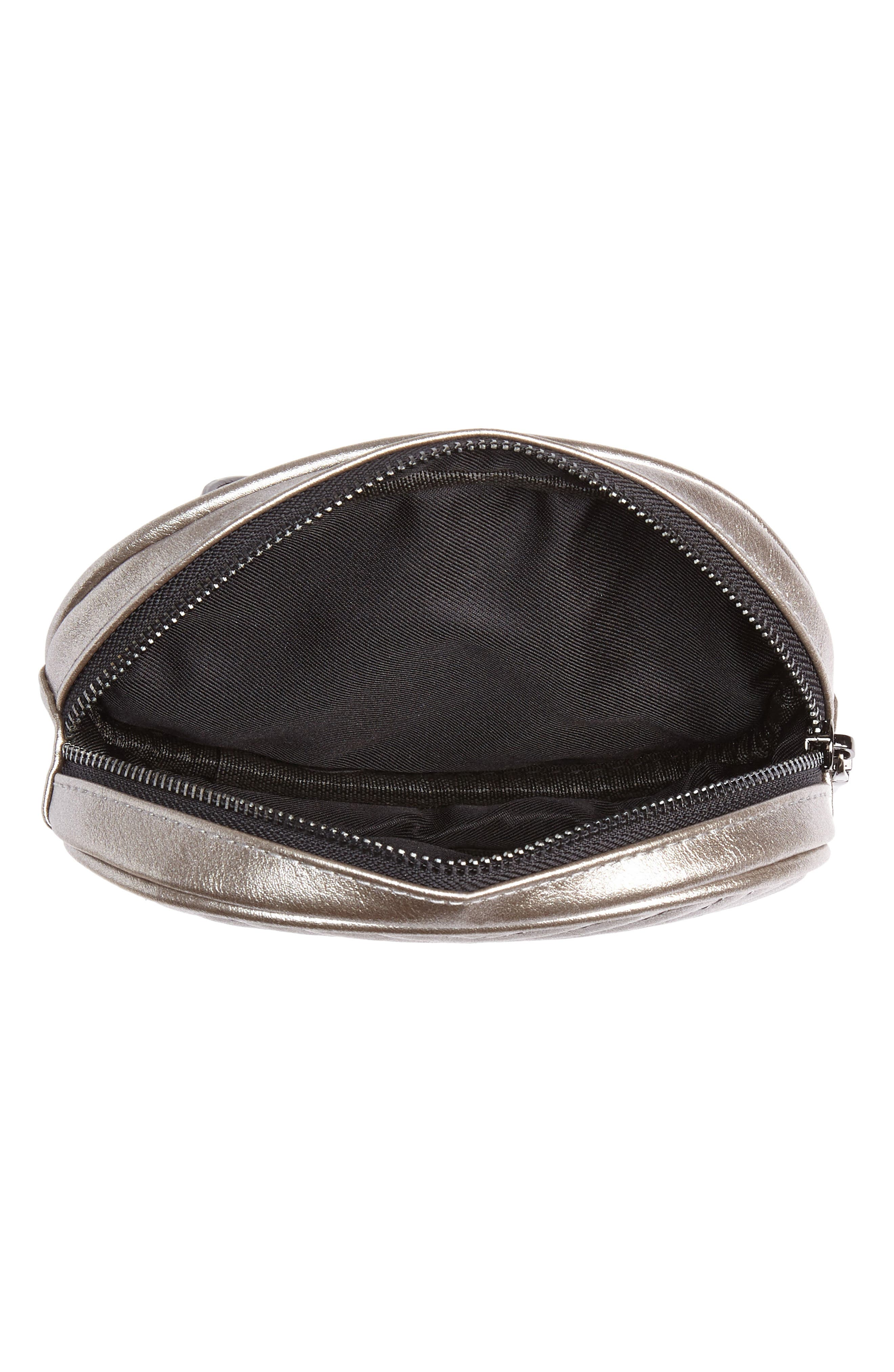 Chevron Quilted Metallic Faux Leather Belt Bag,                             Alternate thumbnail 5, color,                             PEWTER
