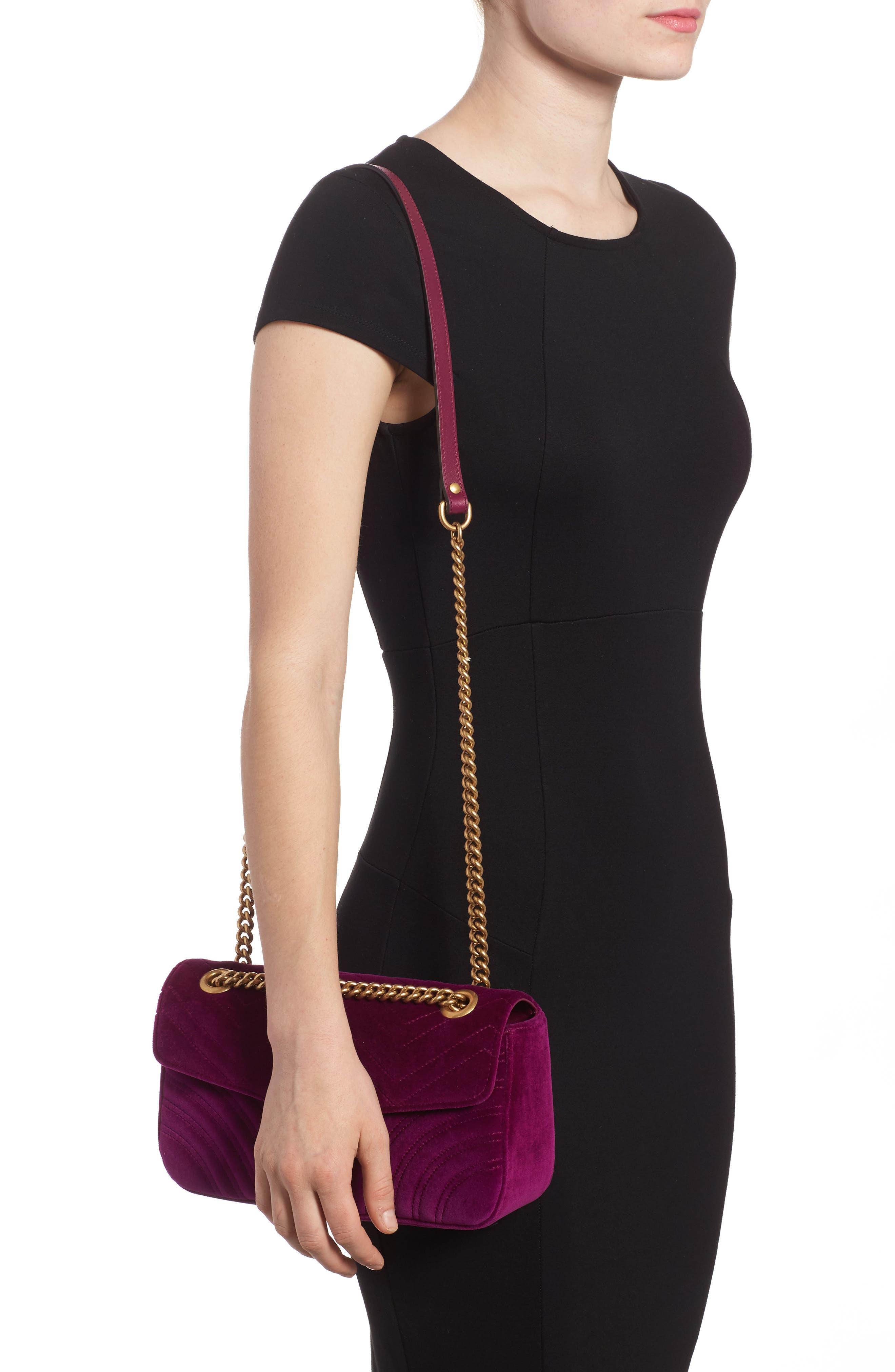 GUCCI,                             Medium GG Marmont 2.0 Matelassé Velvet Shoulder Bag,                             Alternate thumbnail 2, color,                             FUCSIA