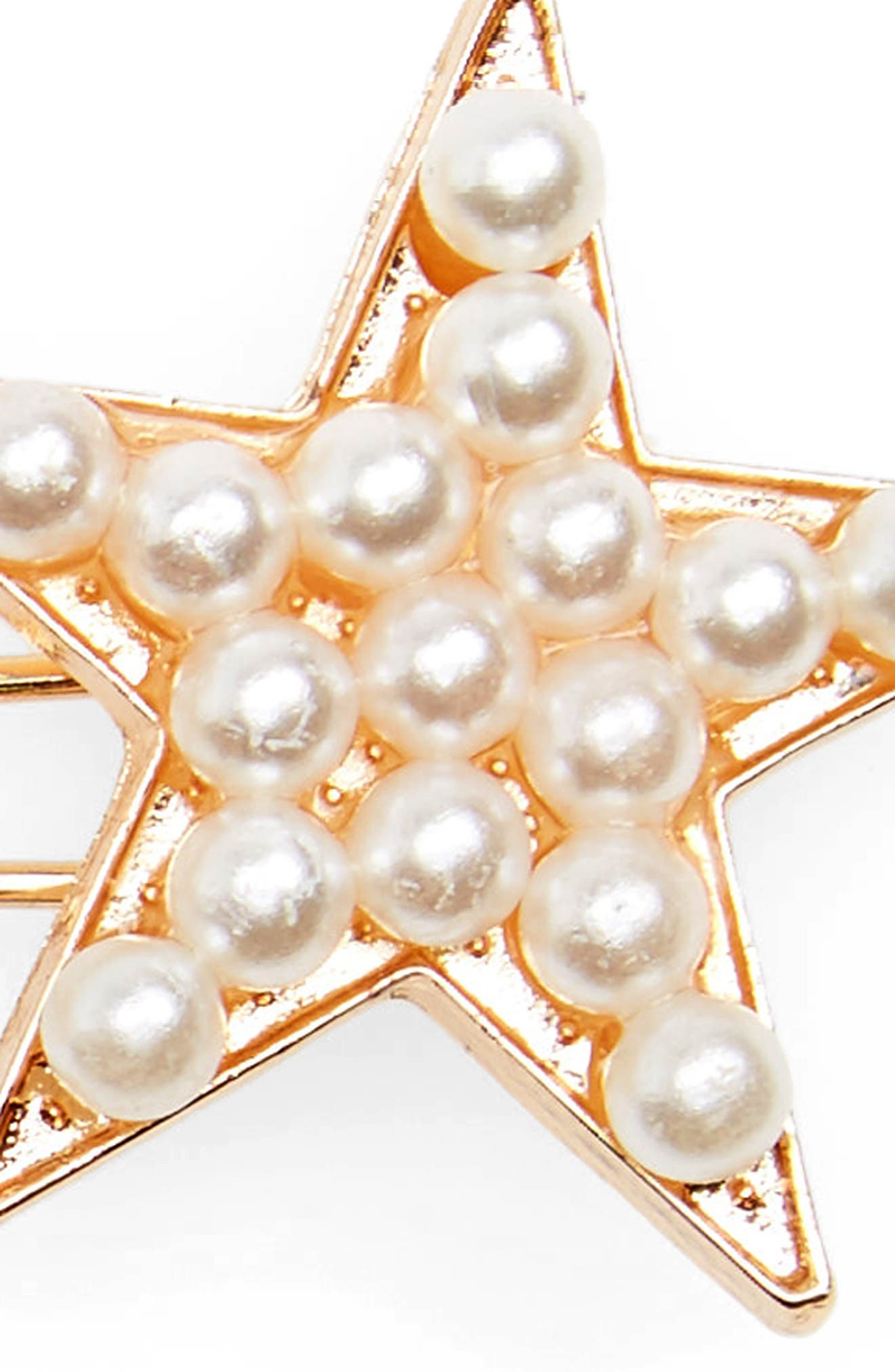 Accessory Collective Imitation Pearl Star Barrette,                             Alternate thumbnail 2, color,                             710