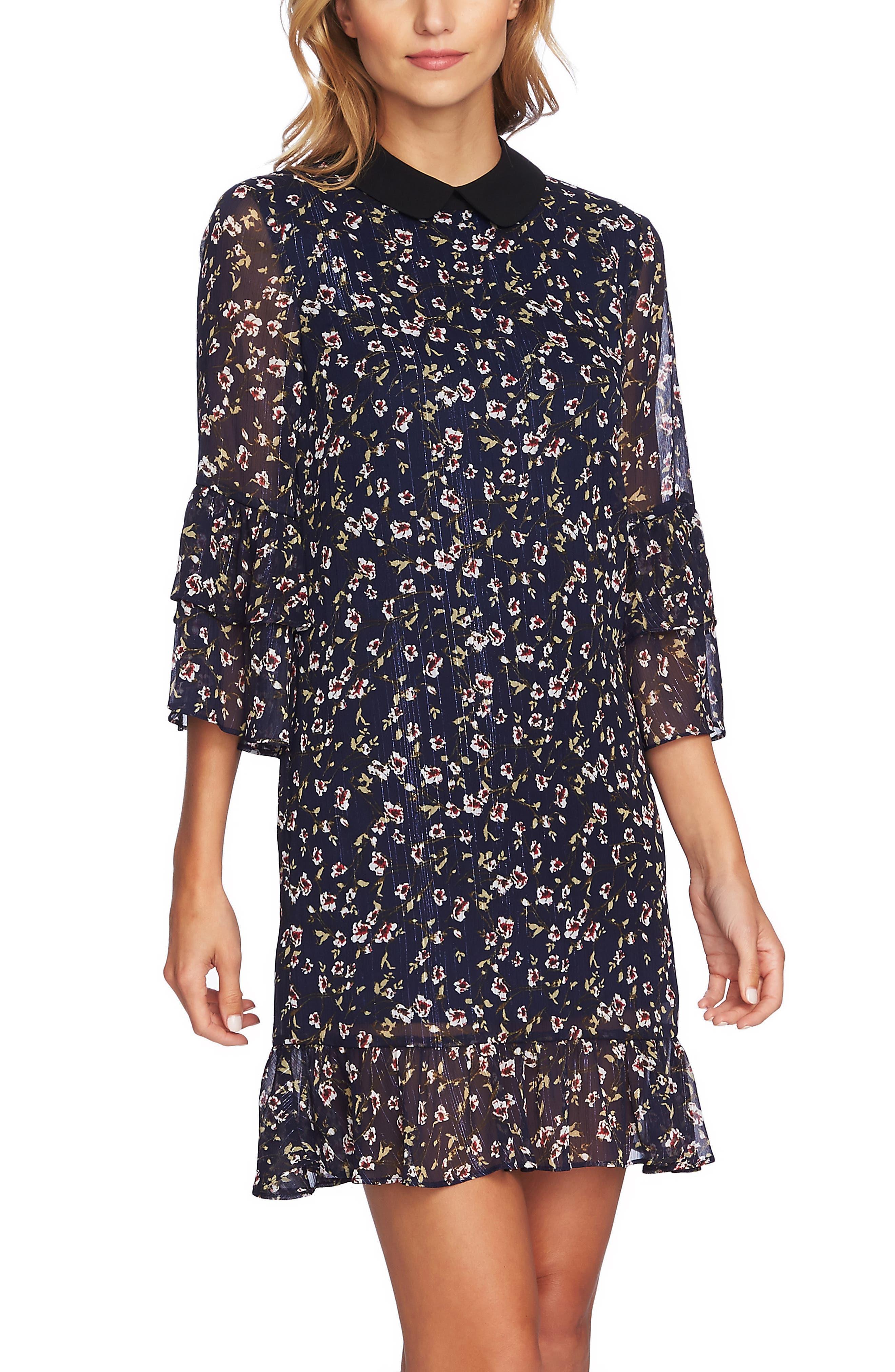 Festive Metallic Stripe Floral Ruffle Dress,                             Alternate thumbnail 4, color,                             MIDNIGHT BLOOM
