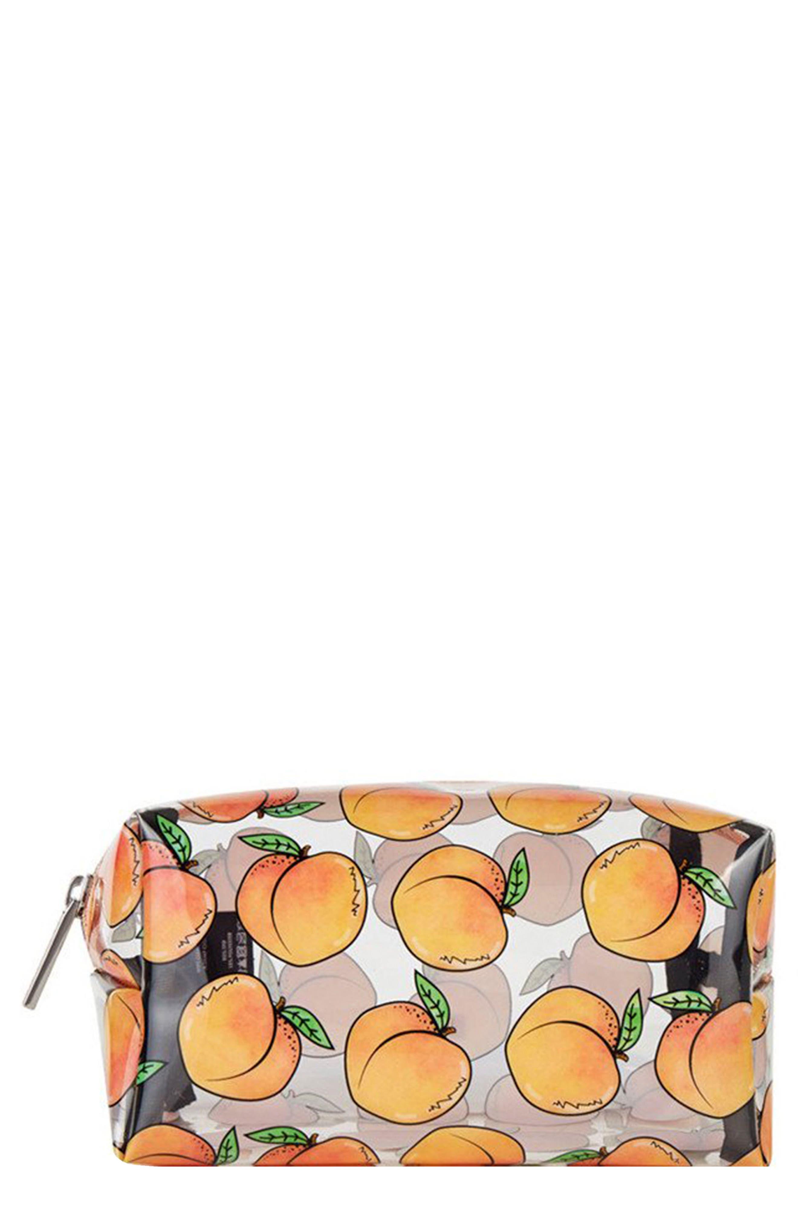 SKINNYDIP,                             Peachy Clear Makeup Bag,                             Main thumbnail 1, color,                             NO COLOR