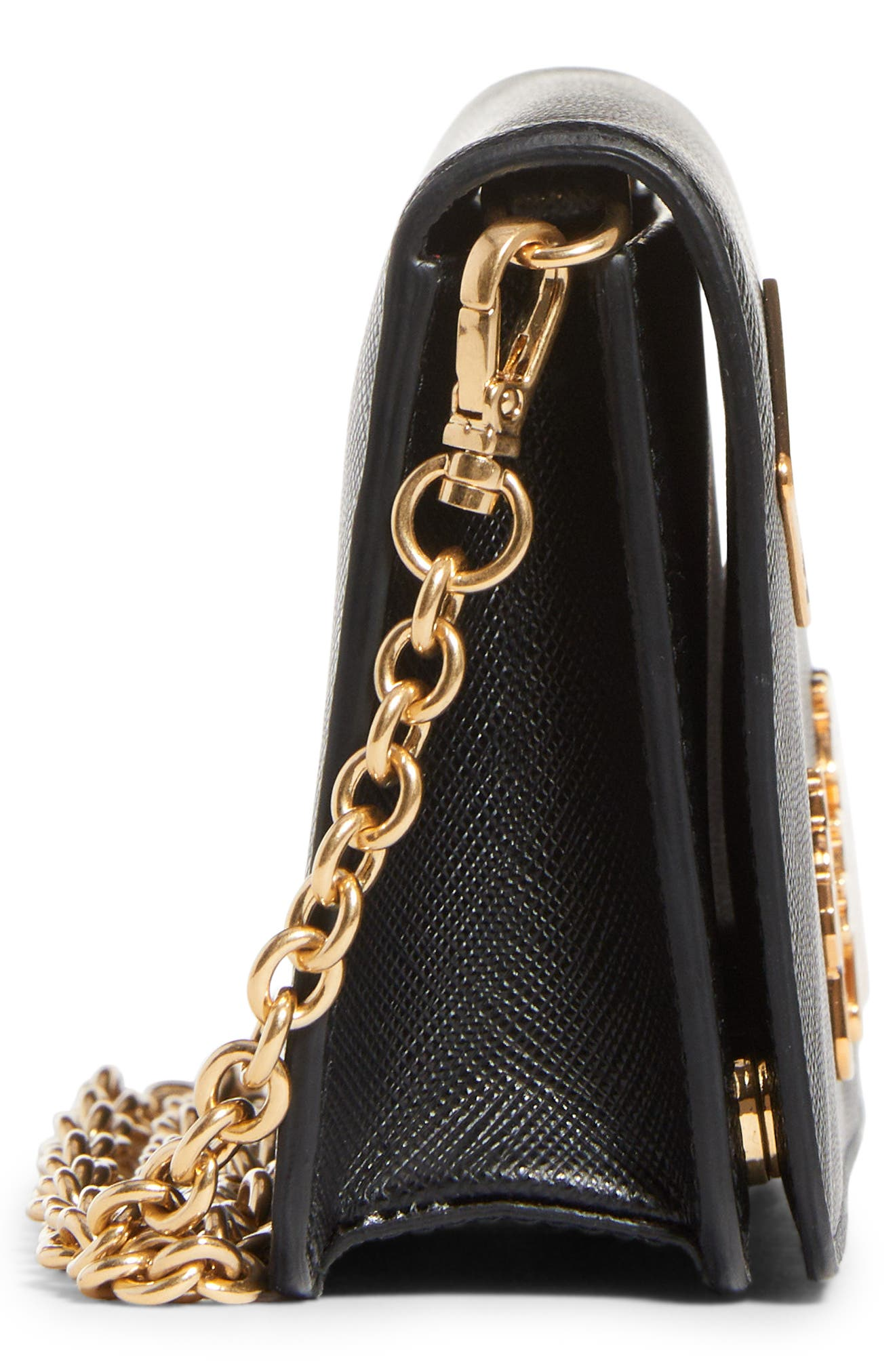 Embellished Saffiano Leather Wallet on a Chain,                             Alternate thumbnail 3, color,                             NERO/ FUOCO