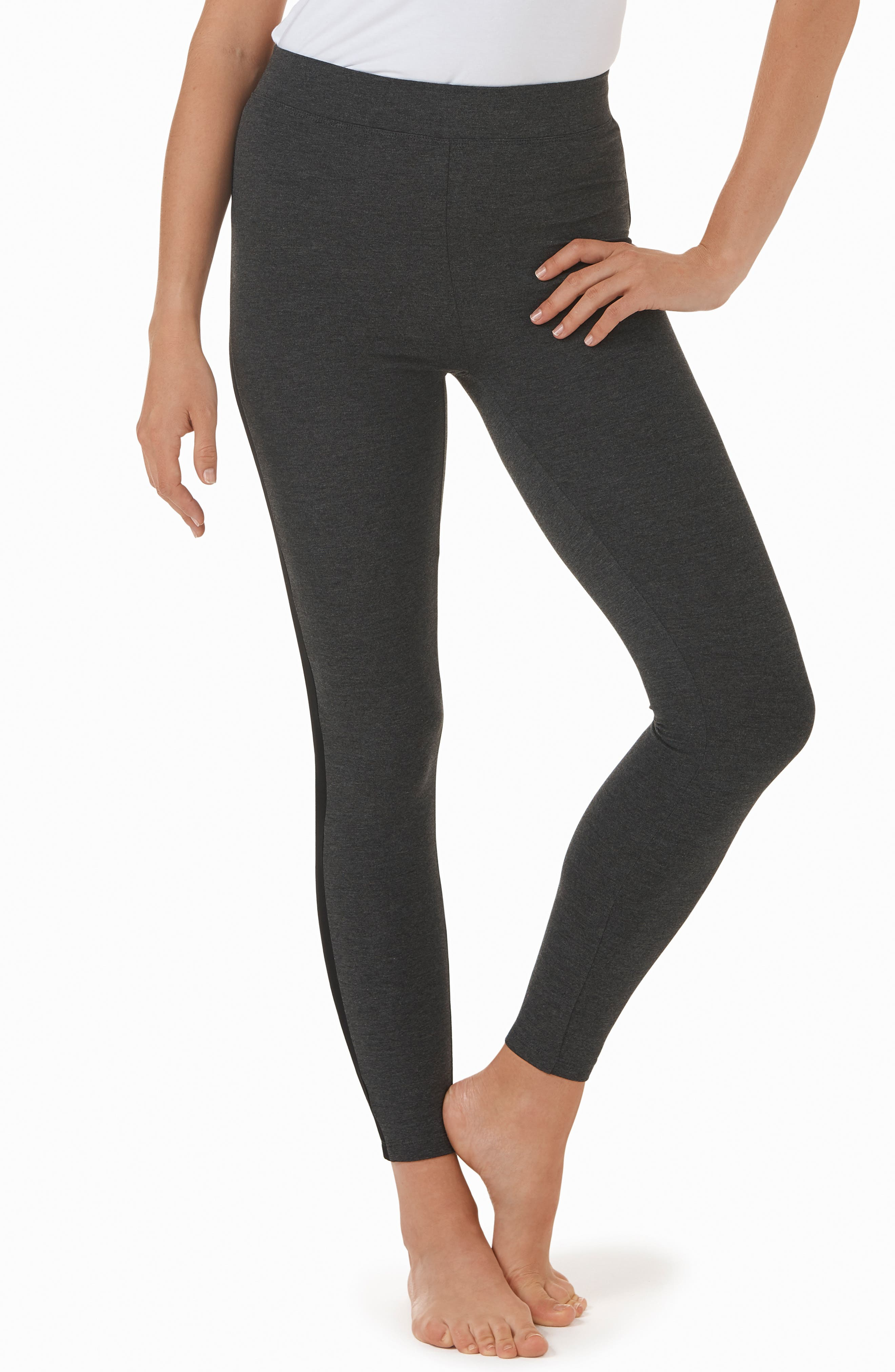 Stripe High Waist Leggings,                         Main,                         color, DCM W/ BLACK