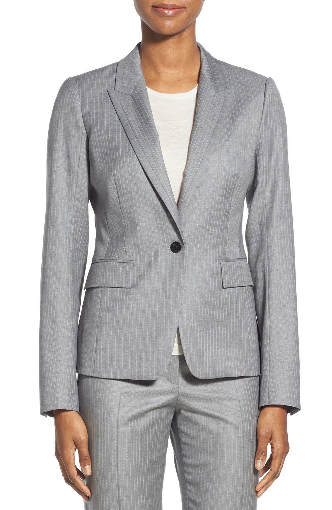 'Jelenna' Pinstripe One-Button Suit Jacket,                             Main thumbnail 1, color,                             060