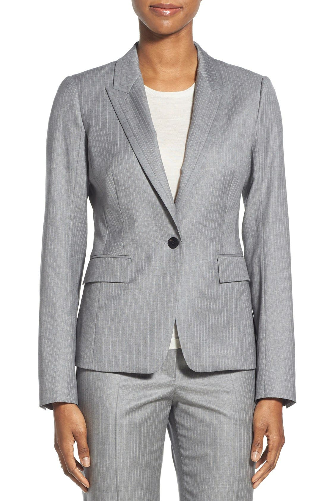 'Jelenna' Pinstripe One-Button Suit Jacket, Main, color, 060