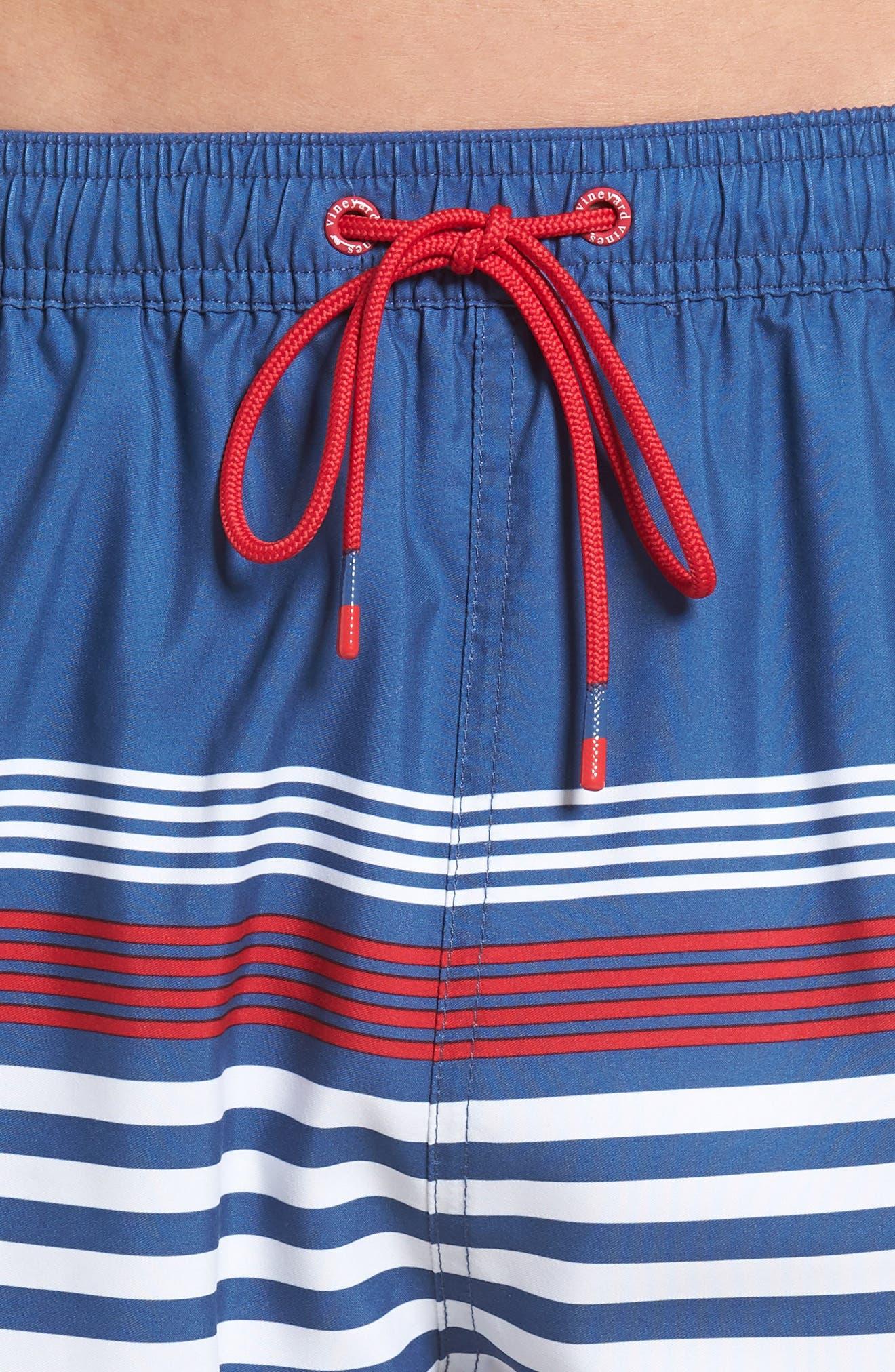 Chappy Summerall Stripe Swim Trunks,                             Alternate thumbnail 4, color,                             461