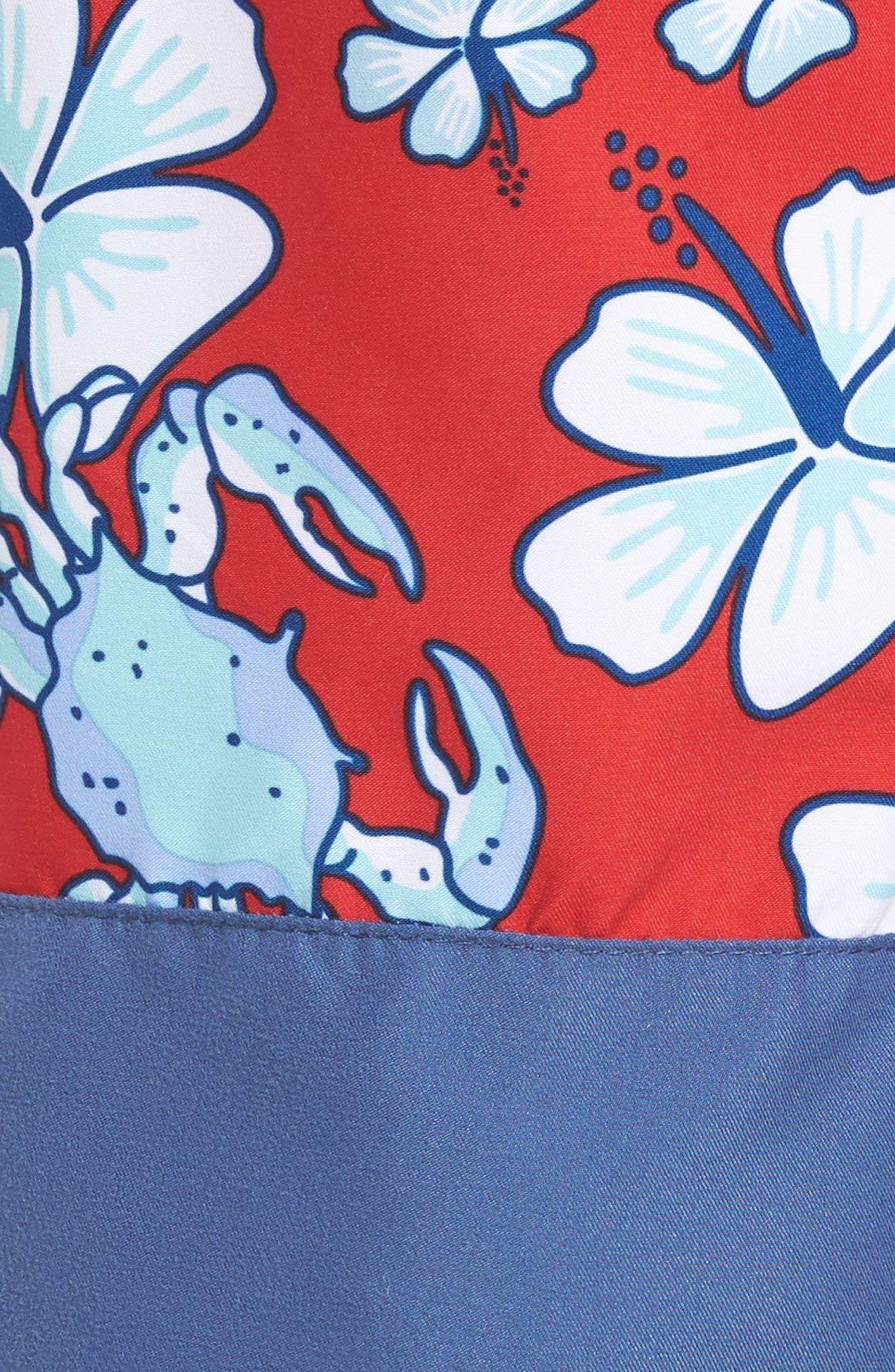 Chappy Crab Piece Swim Trunks,                             Alternate thumbnail 5, color,                             DEEP BAY