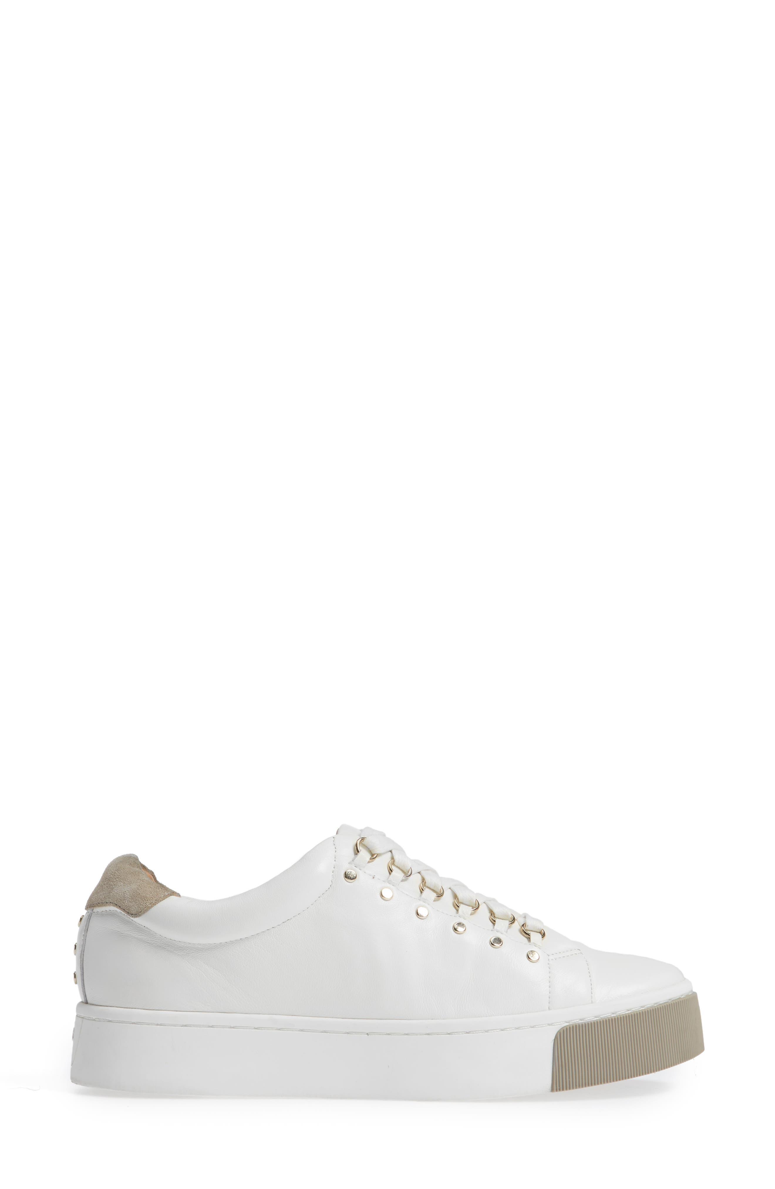 Handan Lace-Up Sneaker,                             Alternate thumbnail 3, color,                             WHITE