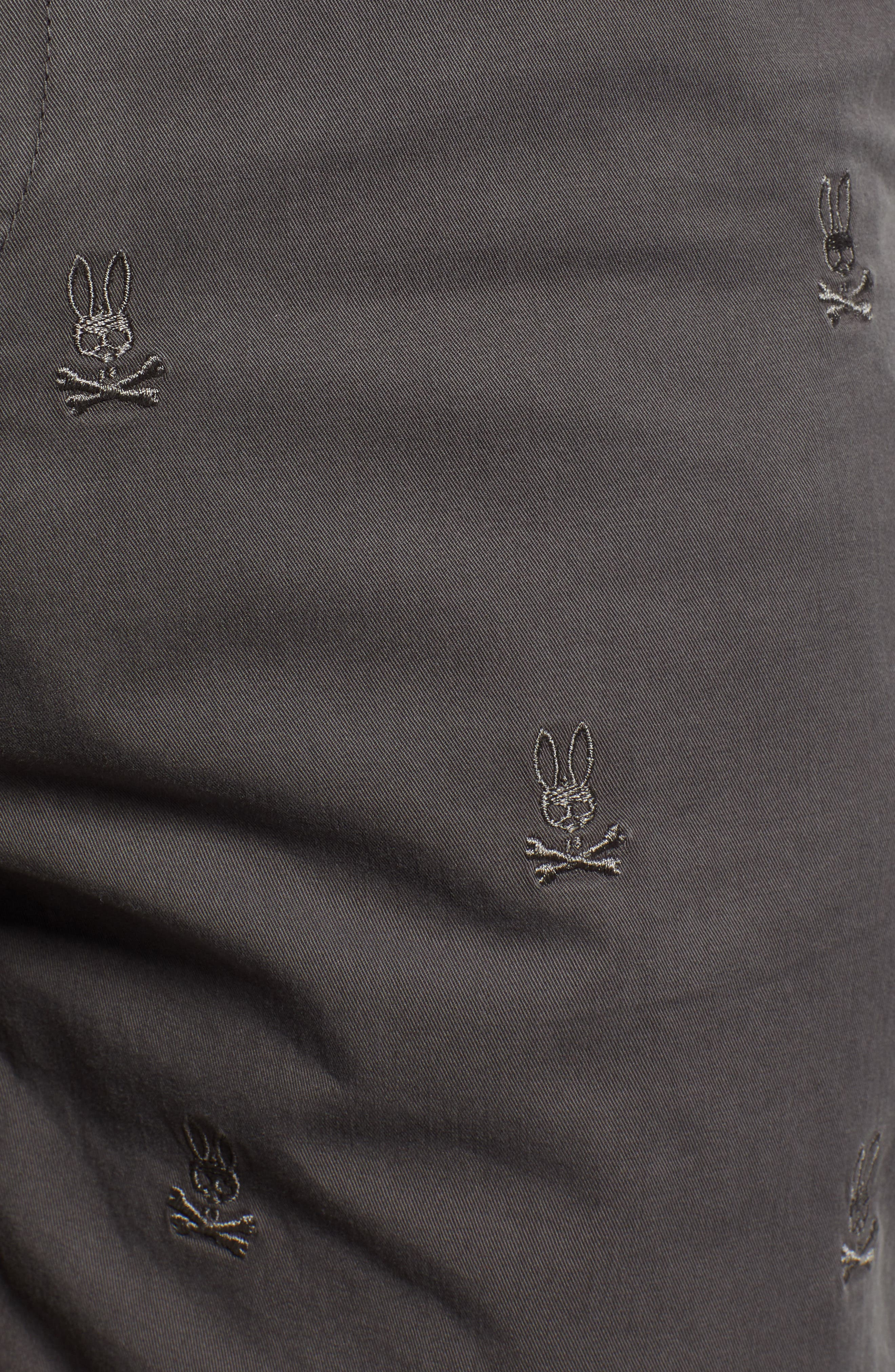 Psycho Bunny Embroidered Shorts,                             Alternate thumbnail 5, color,                             BLACK SAND