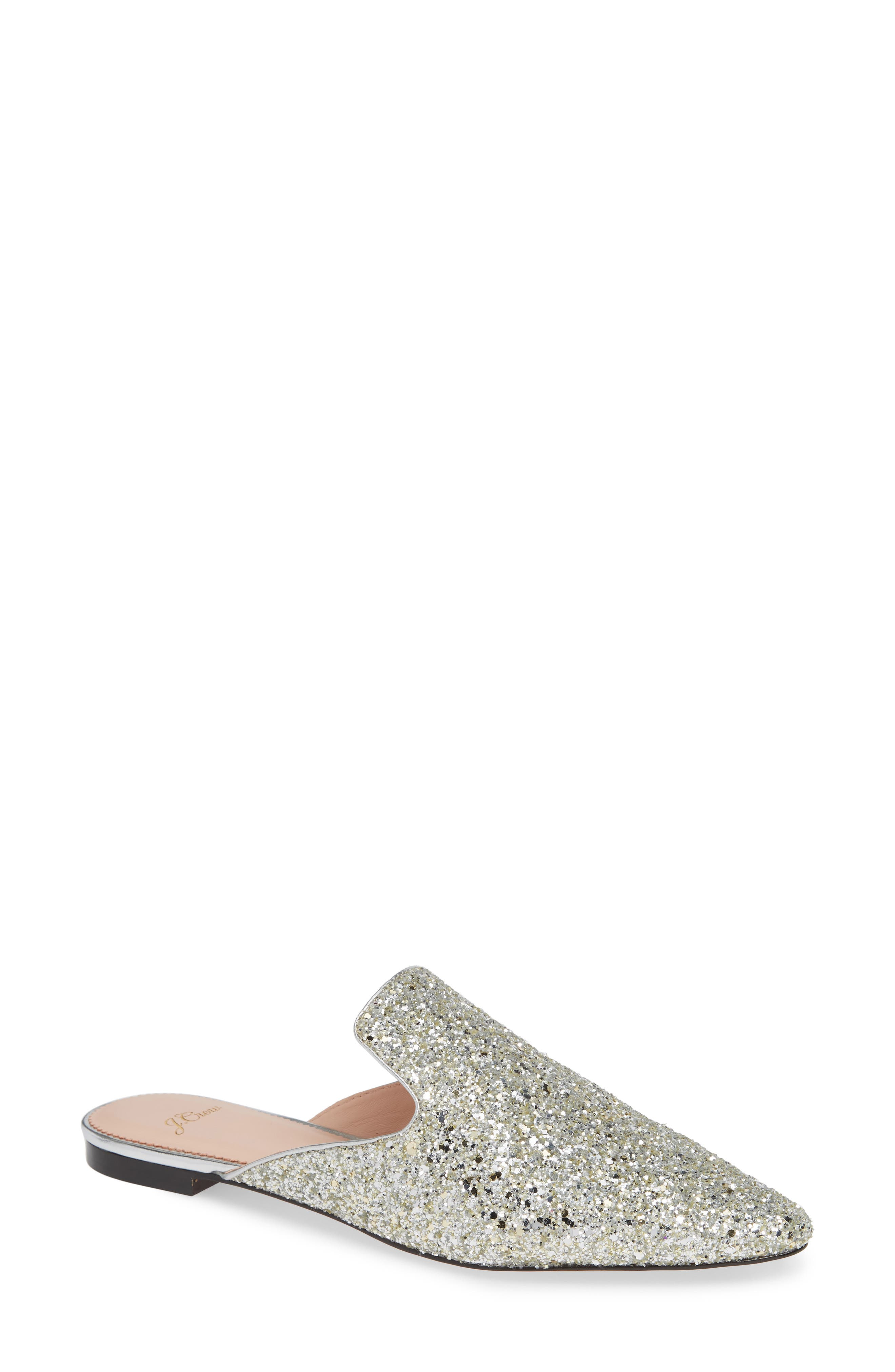 Pointy Toe Slide,                             Main thumbnail 1, color,                             SILVER GLITTER