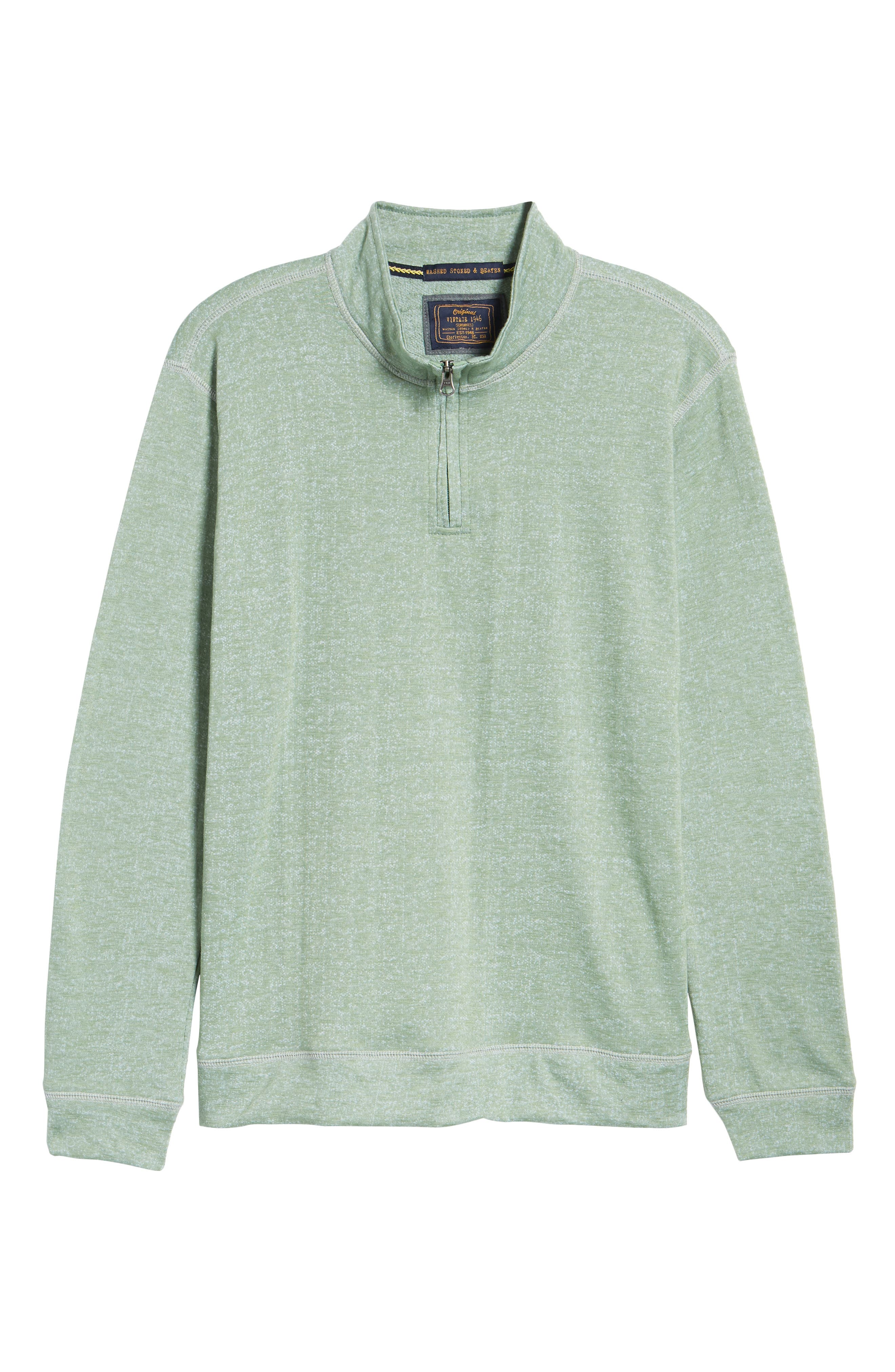 French Terry Quarter Zip Shirt,                             Alternate thumbnail 6, color,                             HEDGE