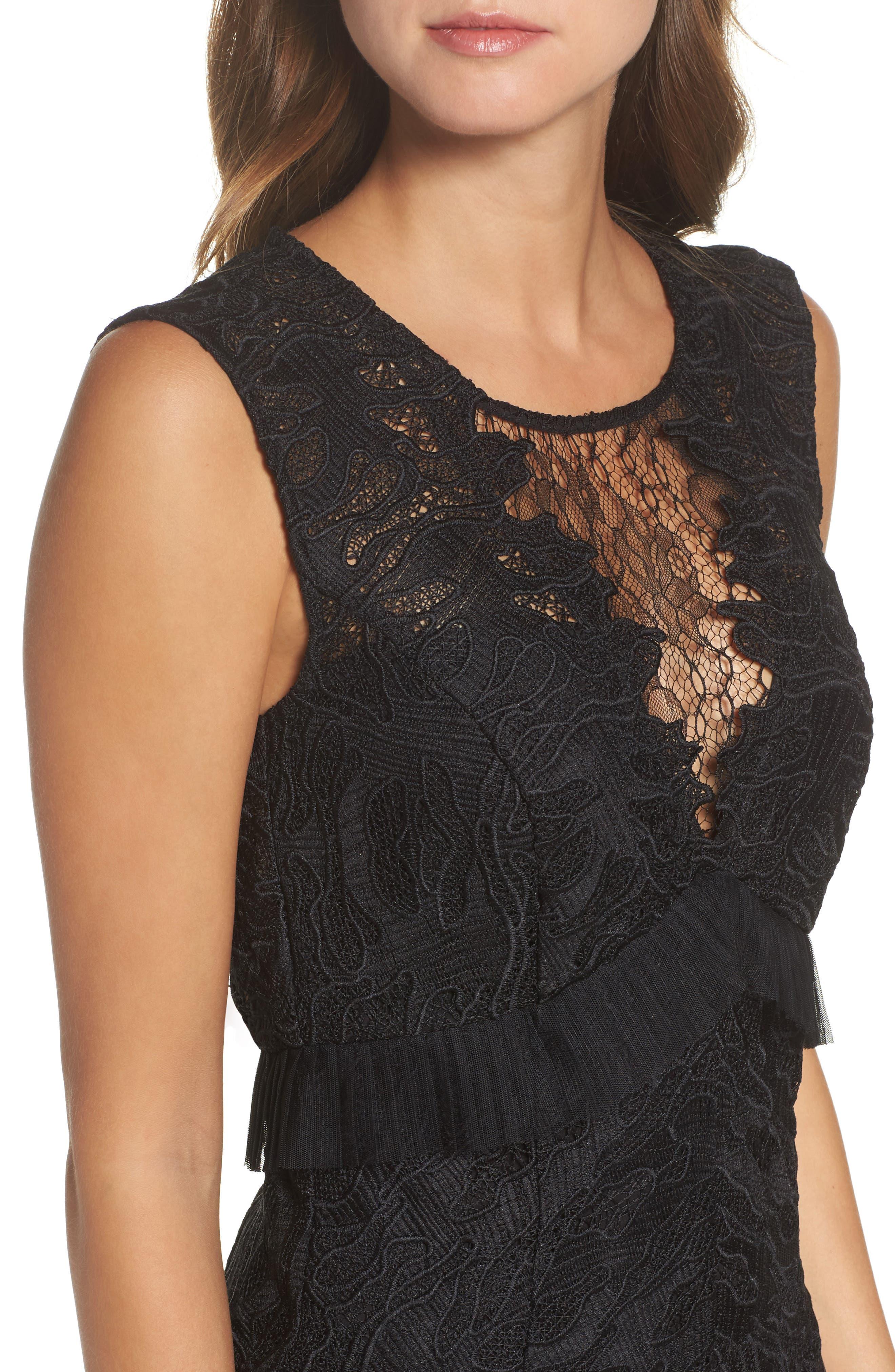 Ruffle Trim Lace Sheath Dress,                             Alternate thumbnail 4, color,                             001