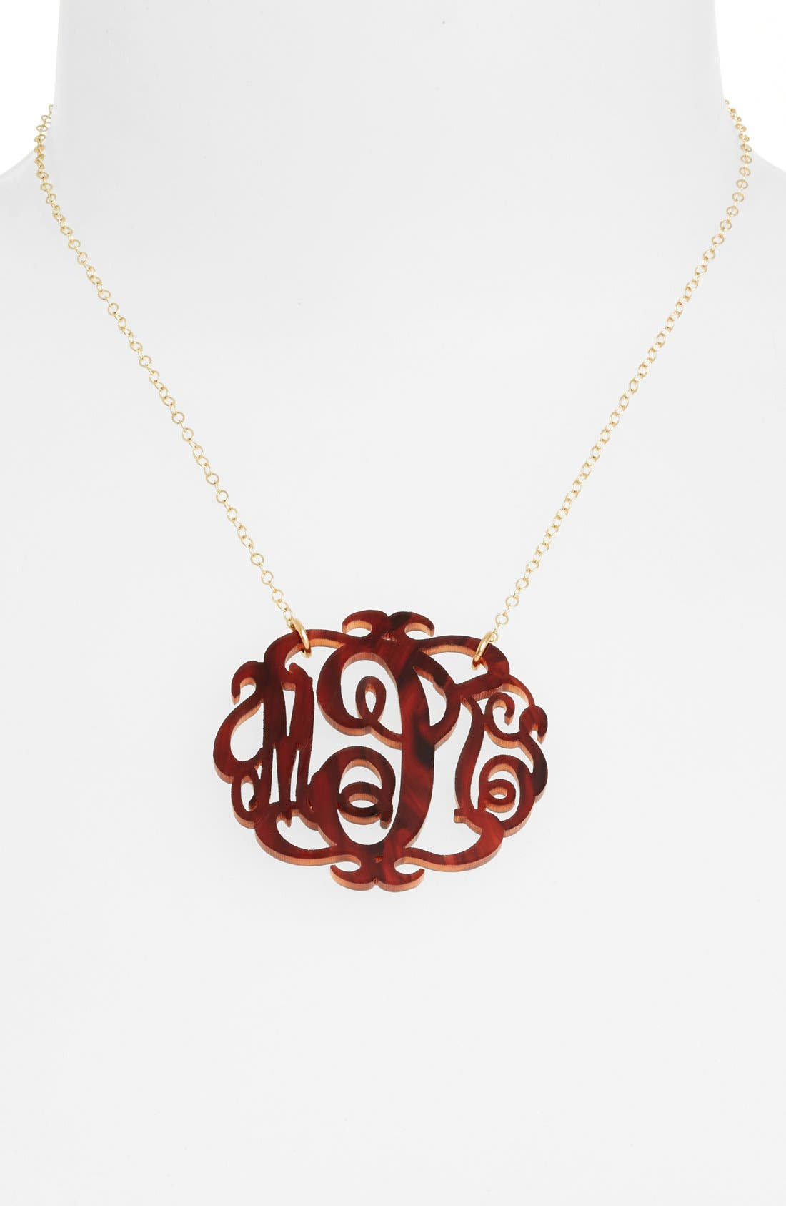 Large Oval Personalized Monogram Pendant Necklace,                         Main,                         color, TORTOISE/ GOLD
