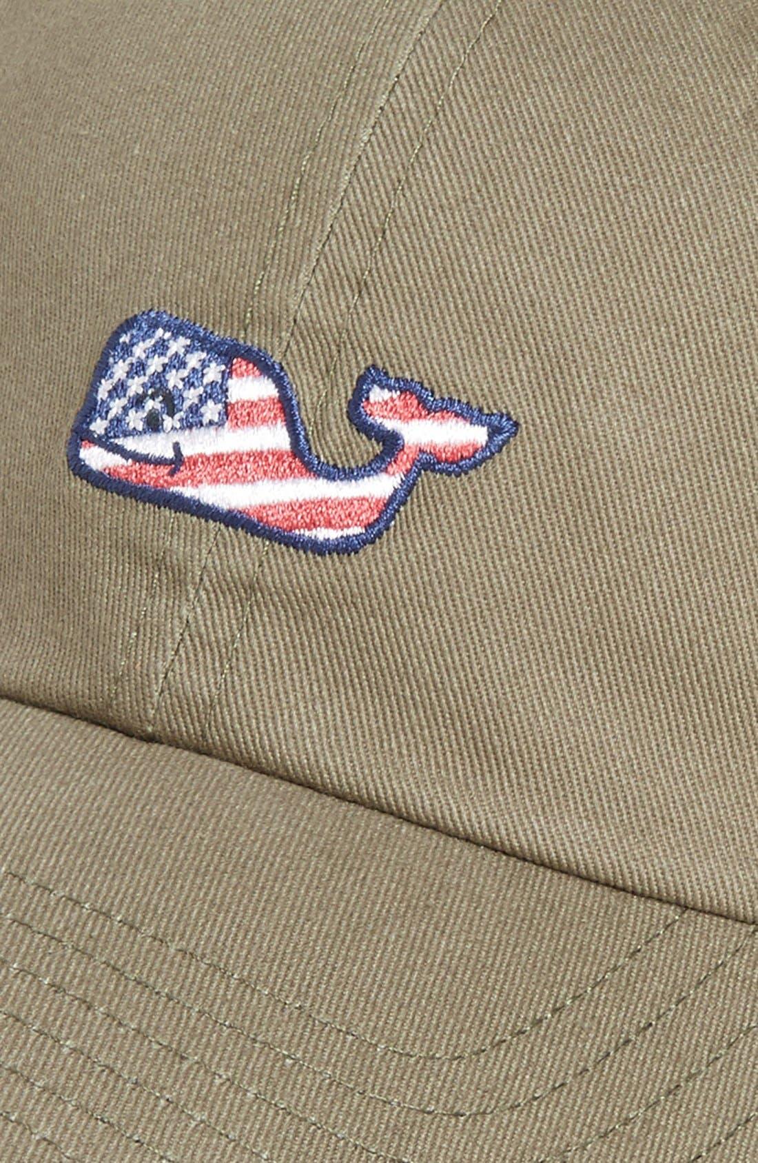 Flag Whale Logo Baseball Cap,                             Alternate thumbnail 3, color,                             398
