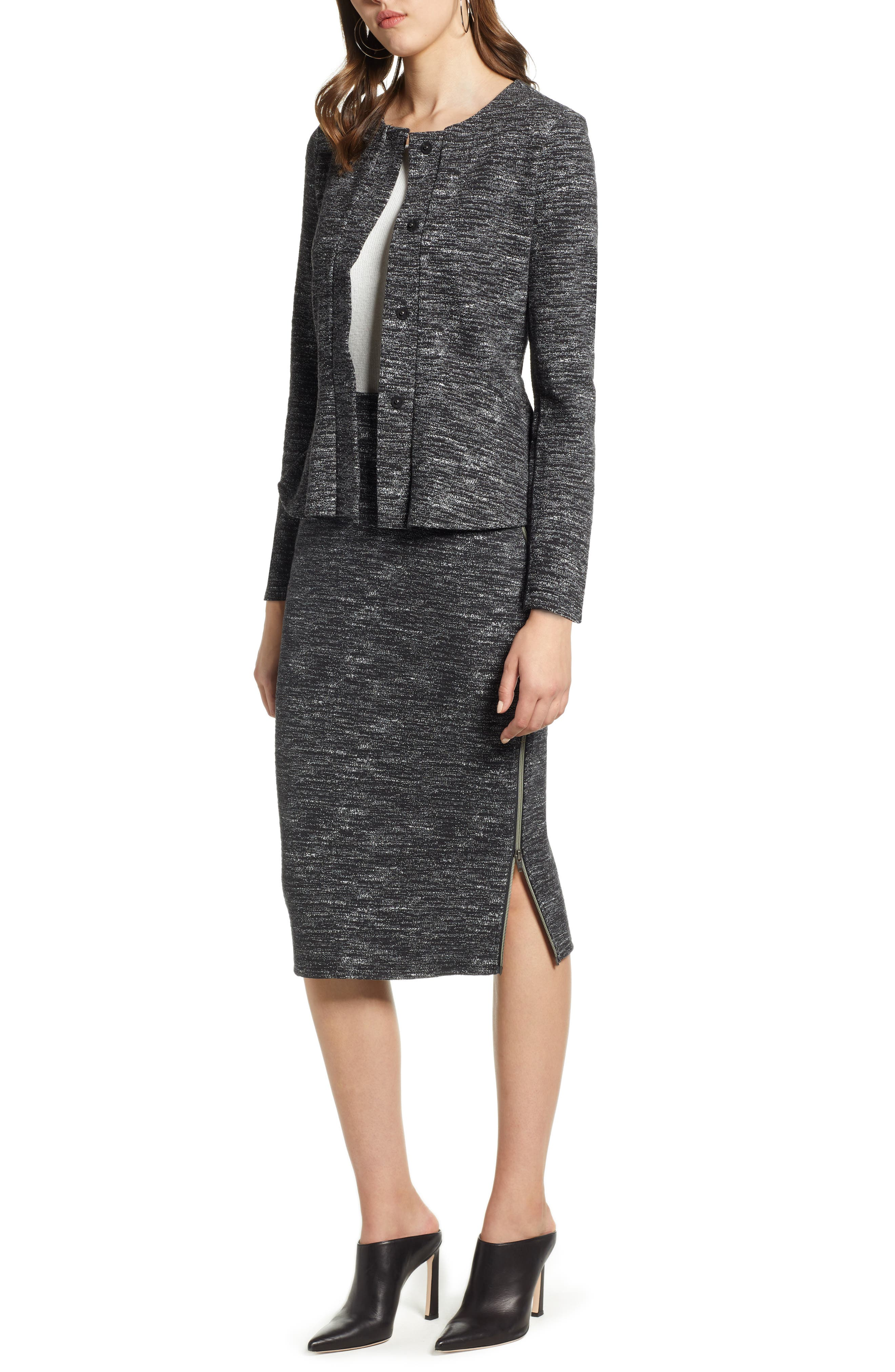 Side Zip Ponte Pencil Skirt,                             Alternate thumbnail 7, color,                             001