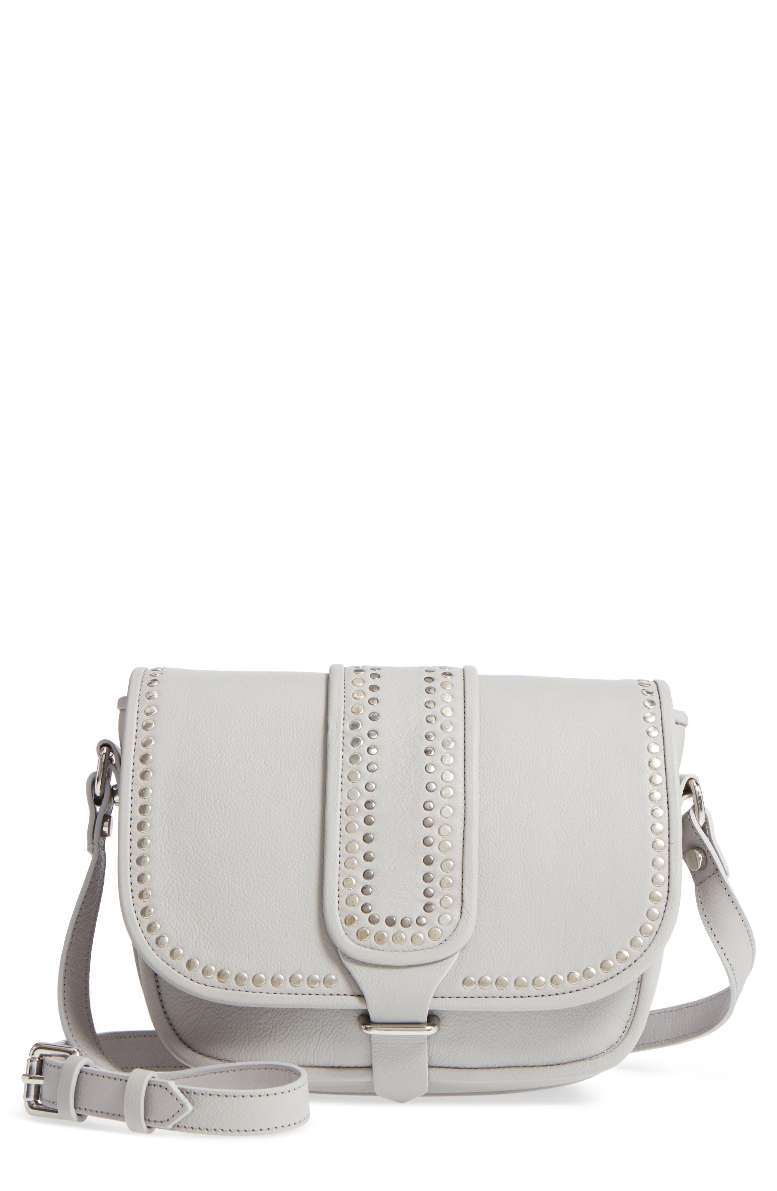 Premium Leather Studded Shoulder Bag,                             Main thumbnail 2, color,