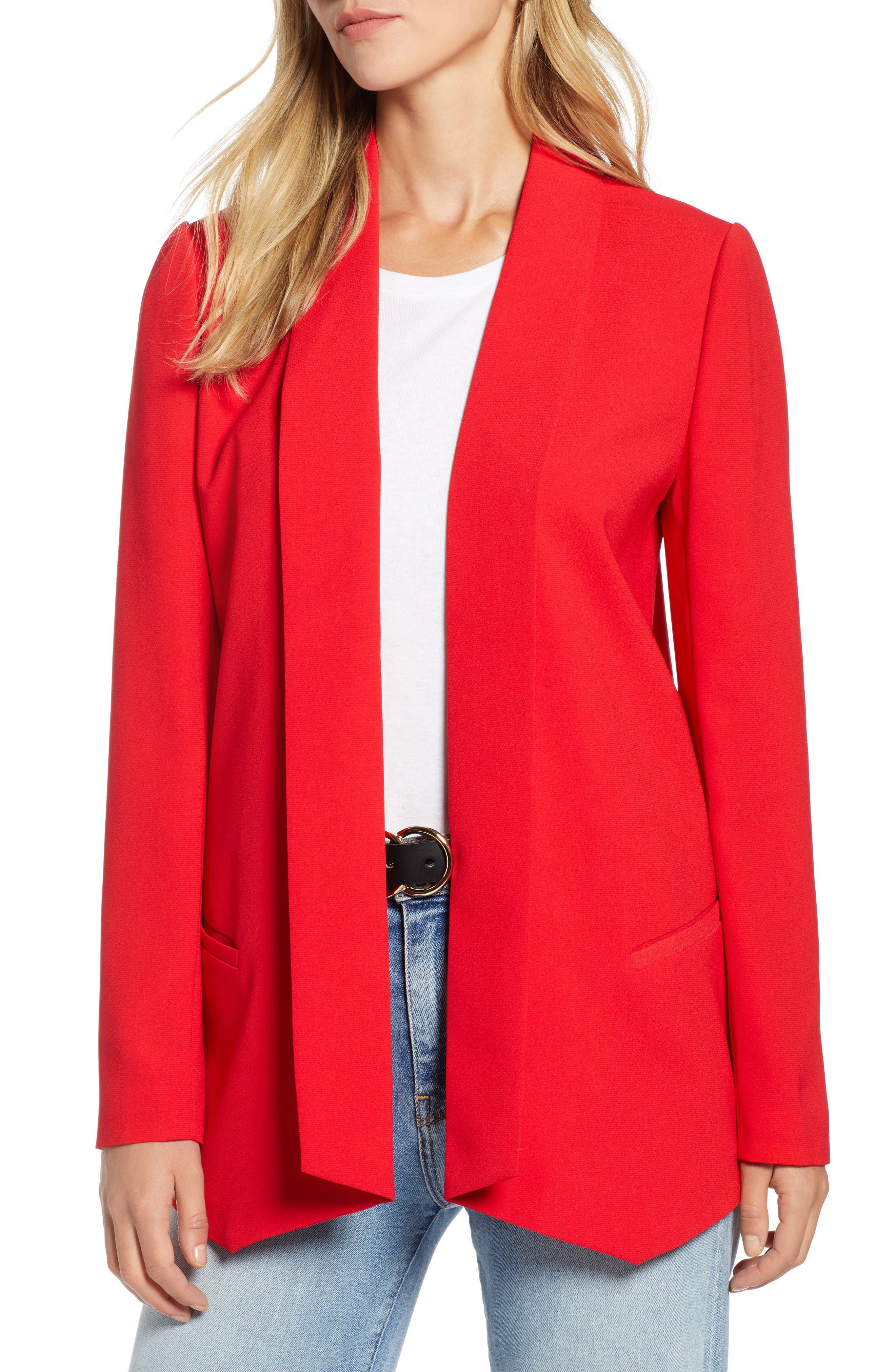 Shawl Collar Blazer,                             Main thumbnail 1, color,                             RED CHINOISE