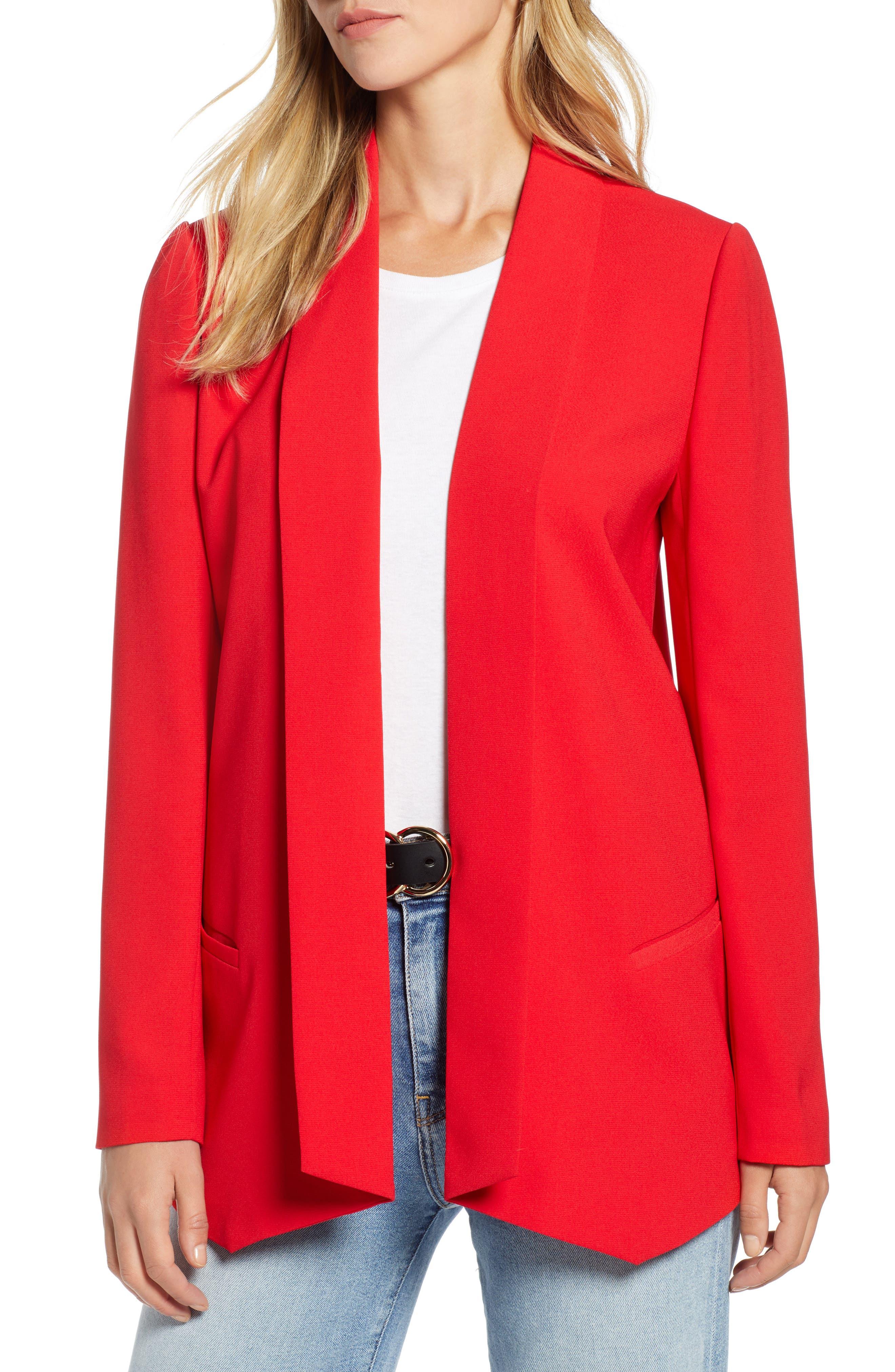 Shawl Collar Blazer,                         Main,                         color, RED CHINOISE