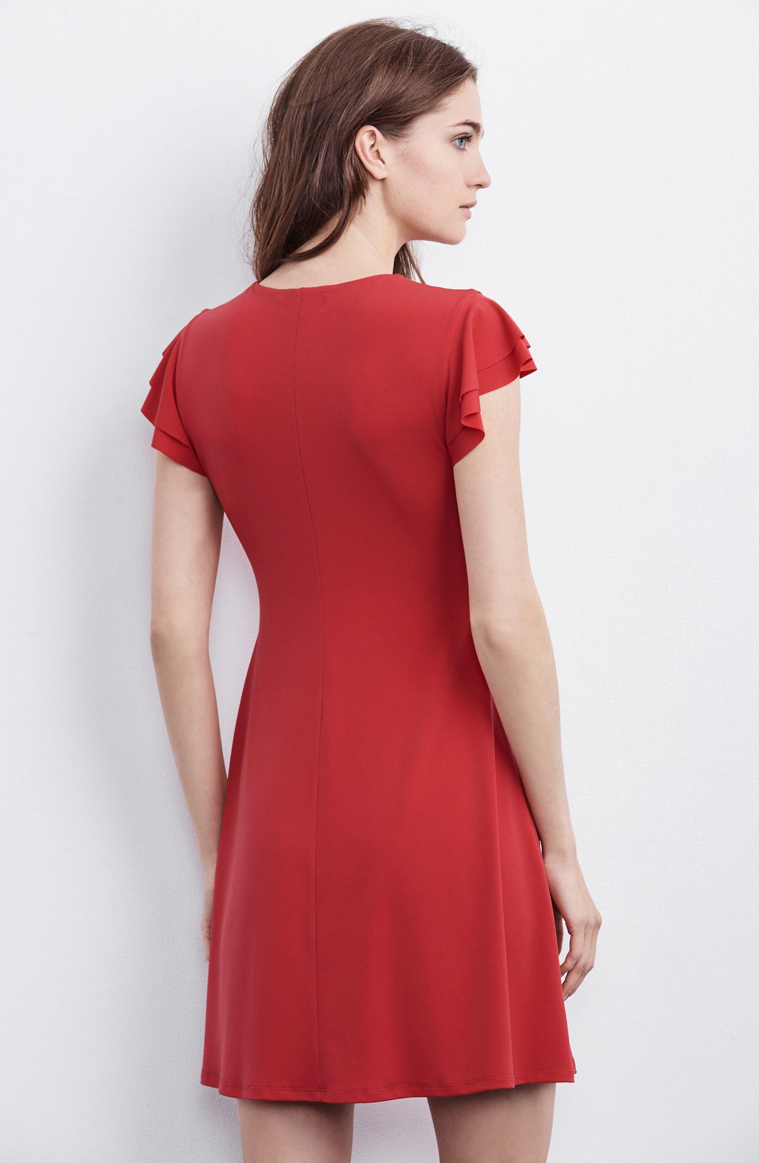 Flutter Sleeve Stretch Jersey Dress,                             Alternate thumbnail 7, color,
