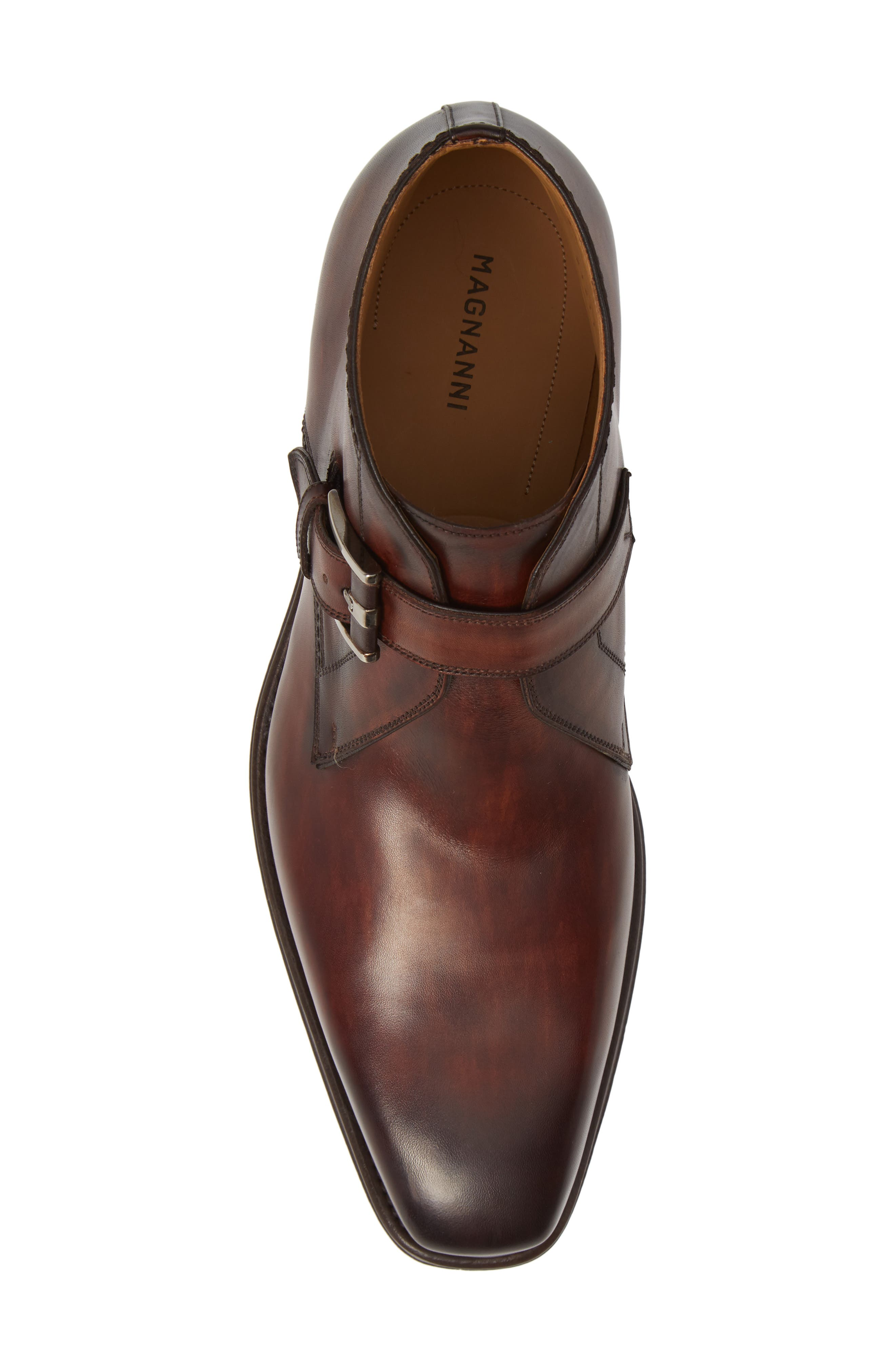 MAGNANNI,                             Luka Monk Strap Boot,                             Alternate thumbnail 5, color,                             MID BROWN LEATHER