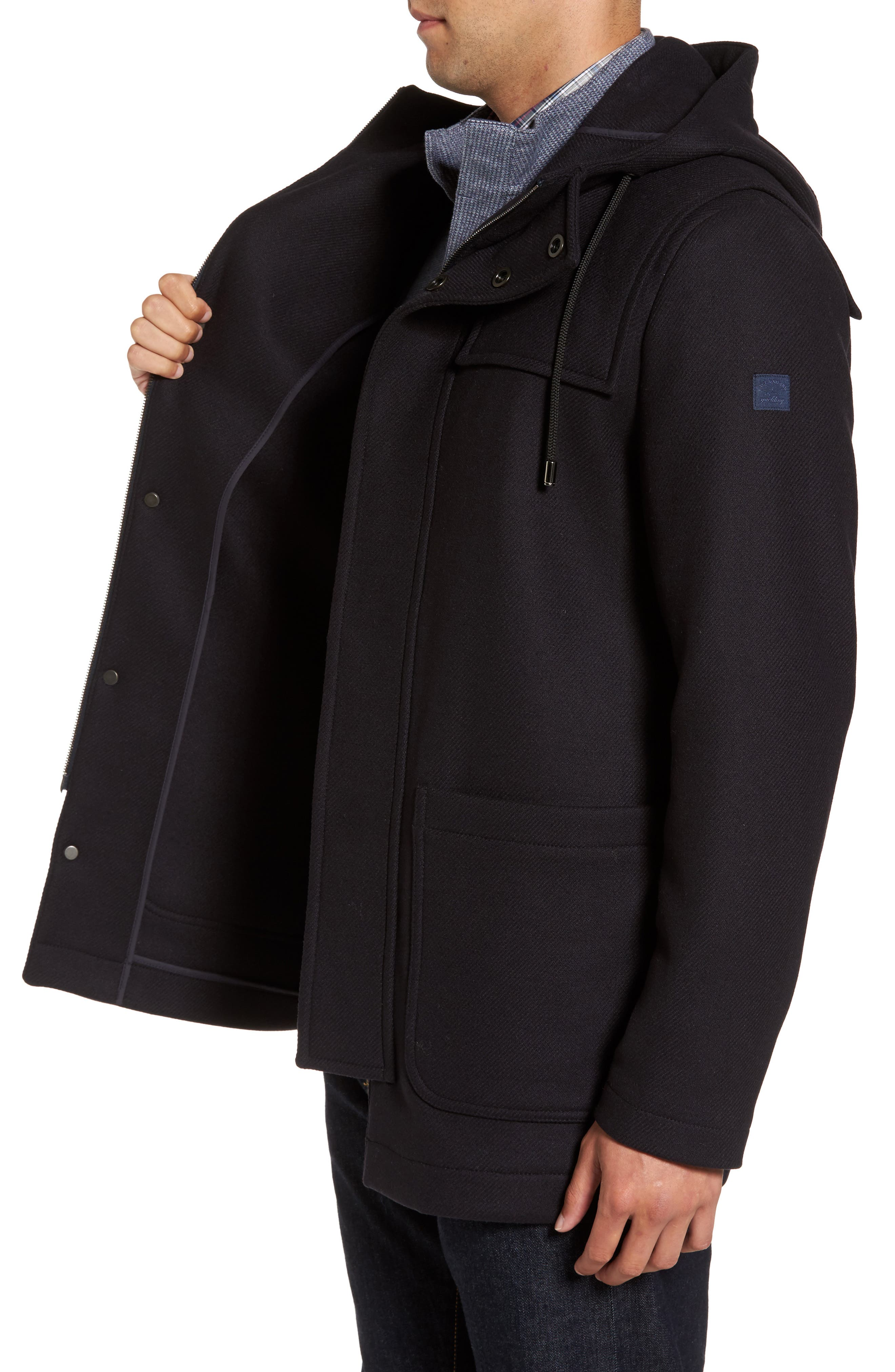 Paul&Shark Wool Blend Duffle Coat,                             Alternate thumbnail 3, color,                             400