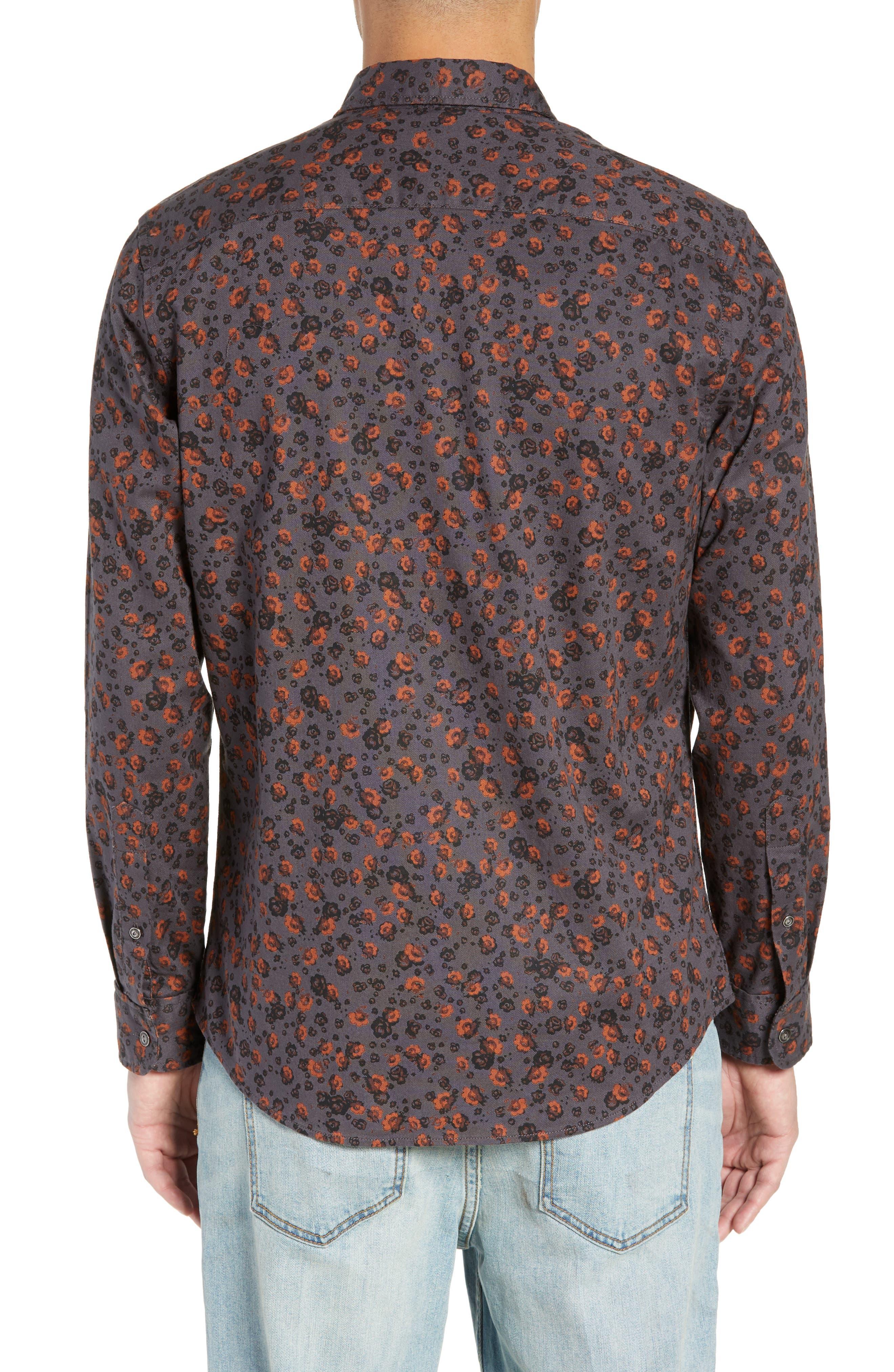 Floral Flannel Sport Shirt,                             Alternate thumbnail 3, color,                             GREY METEOR FOLK FLORAL