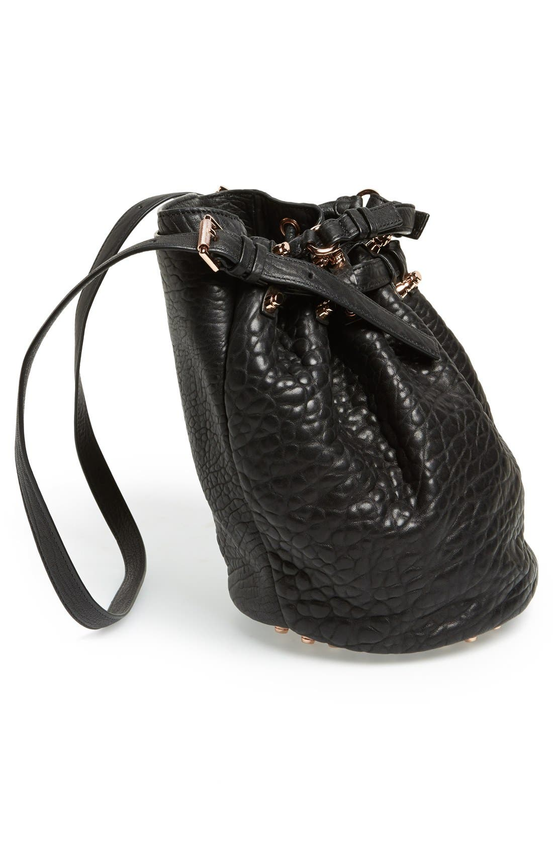 'Diego - Rose Gold' Leather Bucket Bag,                             Alternate thumbnail 4, color,                             001