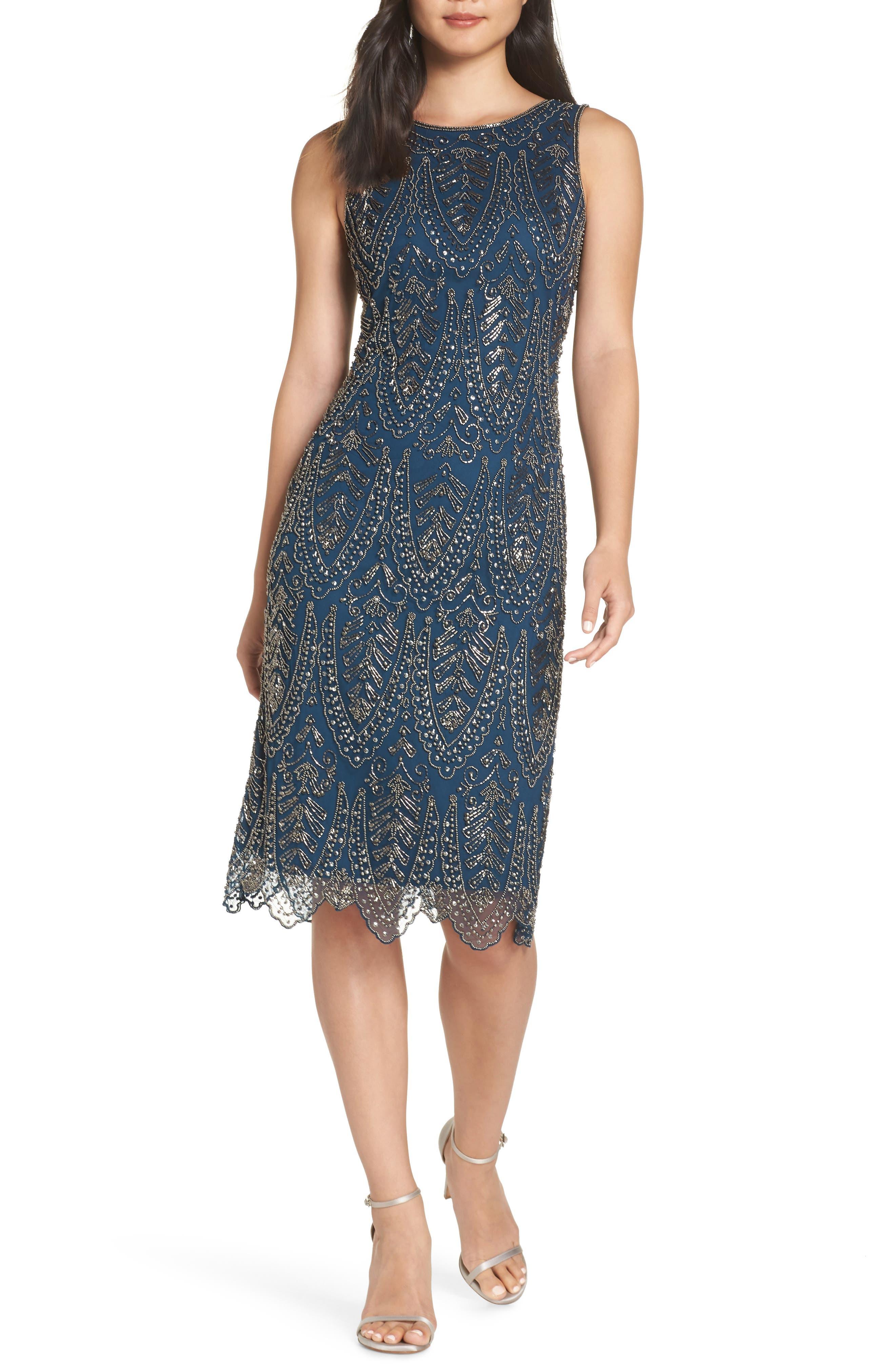 Pisarro Nights Middy Zigzag Sheath Dress, Blue