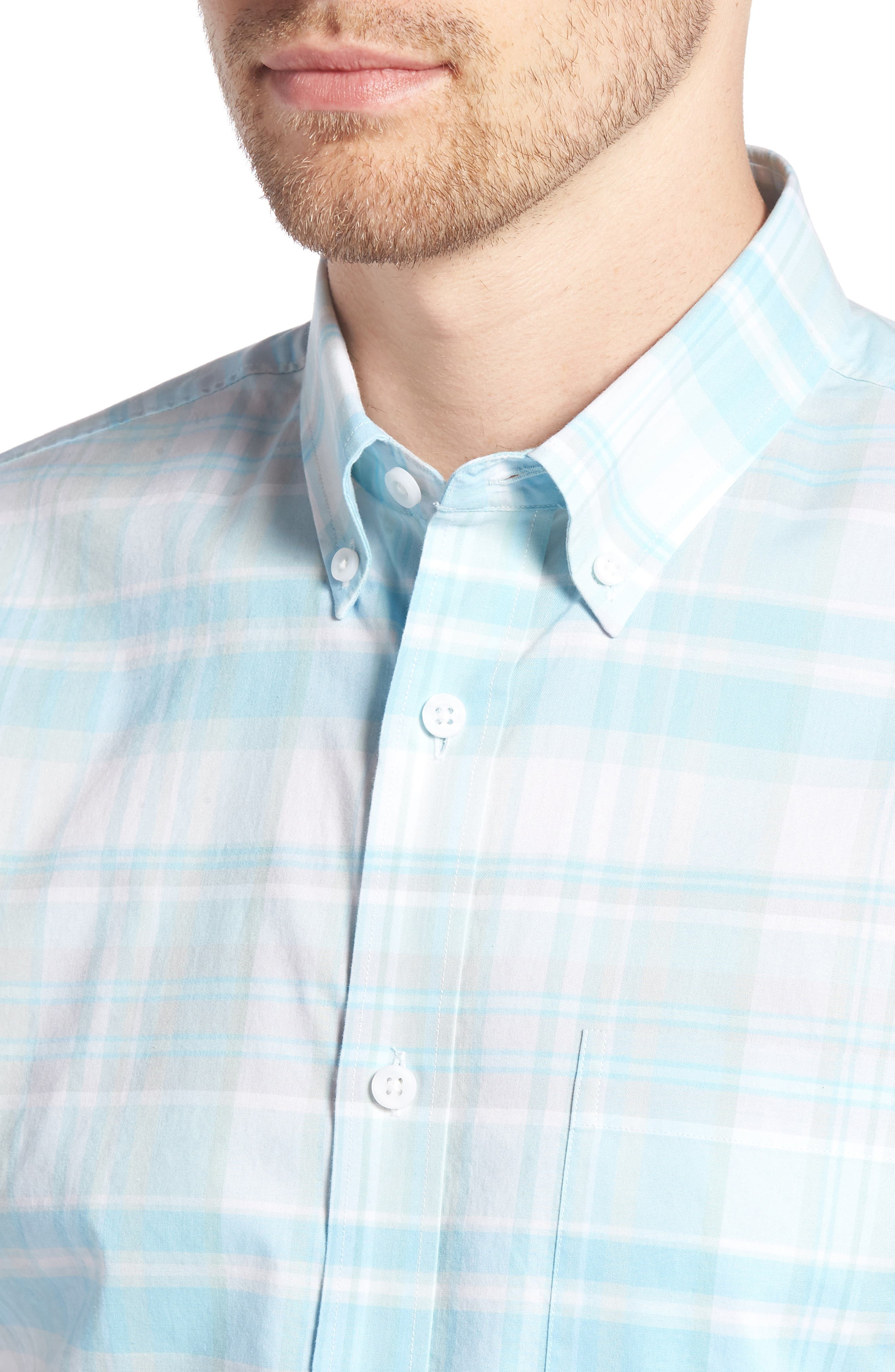 Trim Fit Plaid Sport Shirt,                             Alternate thumbnail 4, color,                             450