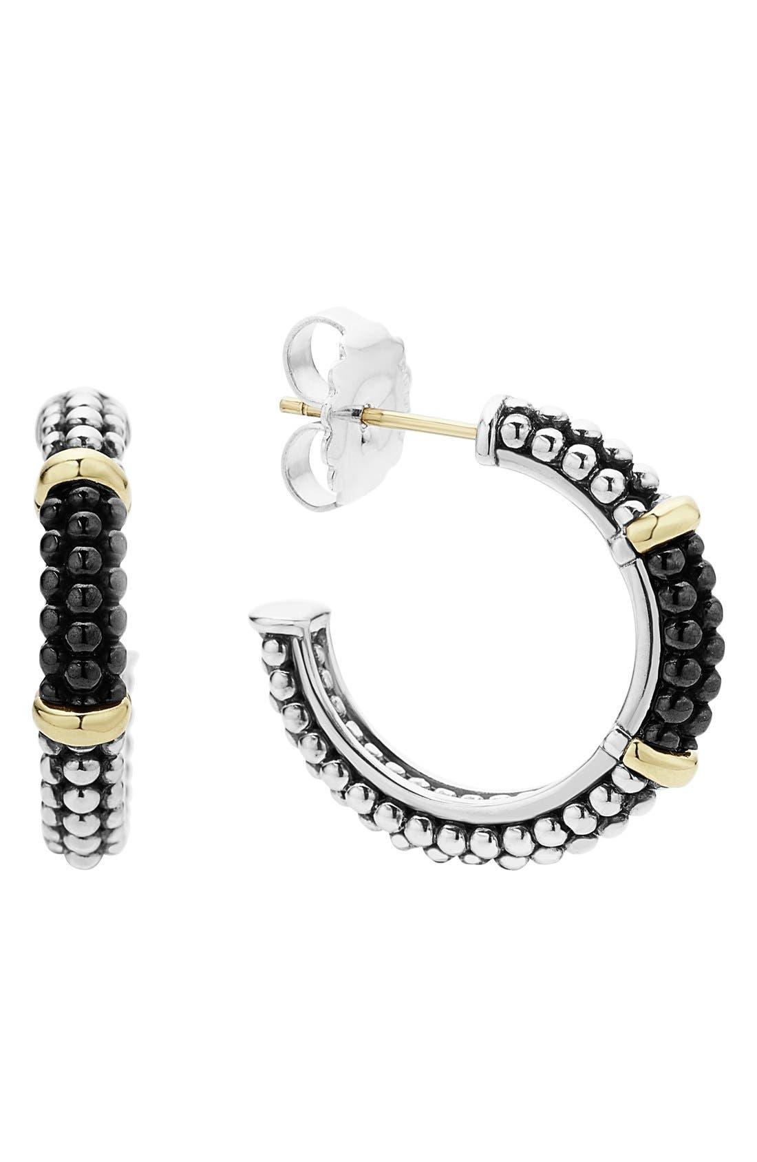 LAGOS,                             'Black & White Caviar' Hoop Earrings,                             Main thumbnail 1, color,                             001