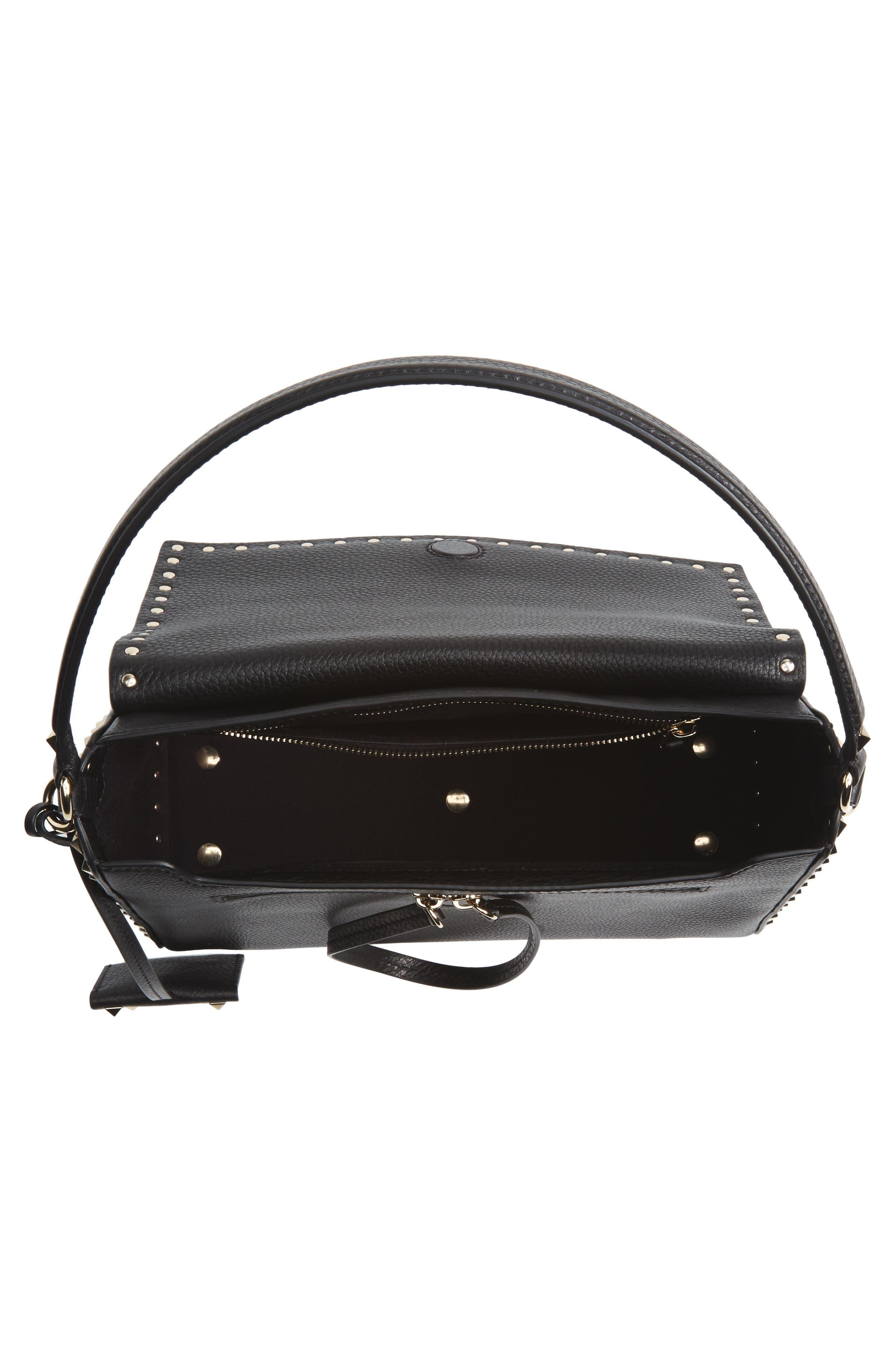 Medium Rockstud Leather Shoulder Bag,                             Alternate thumbnail 4, color,                             001
