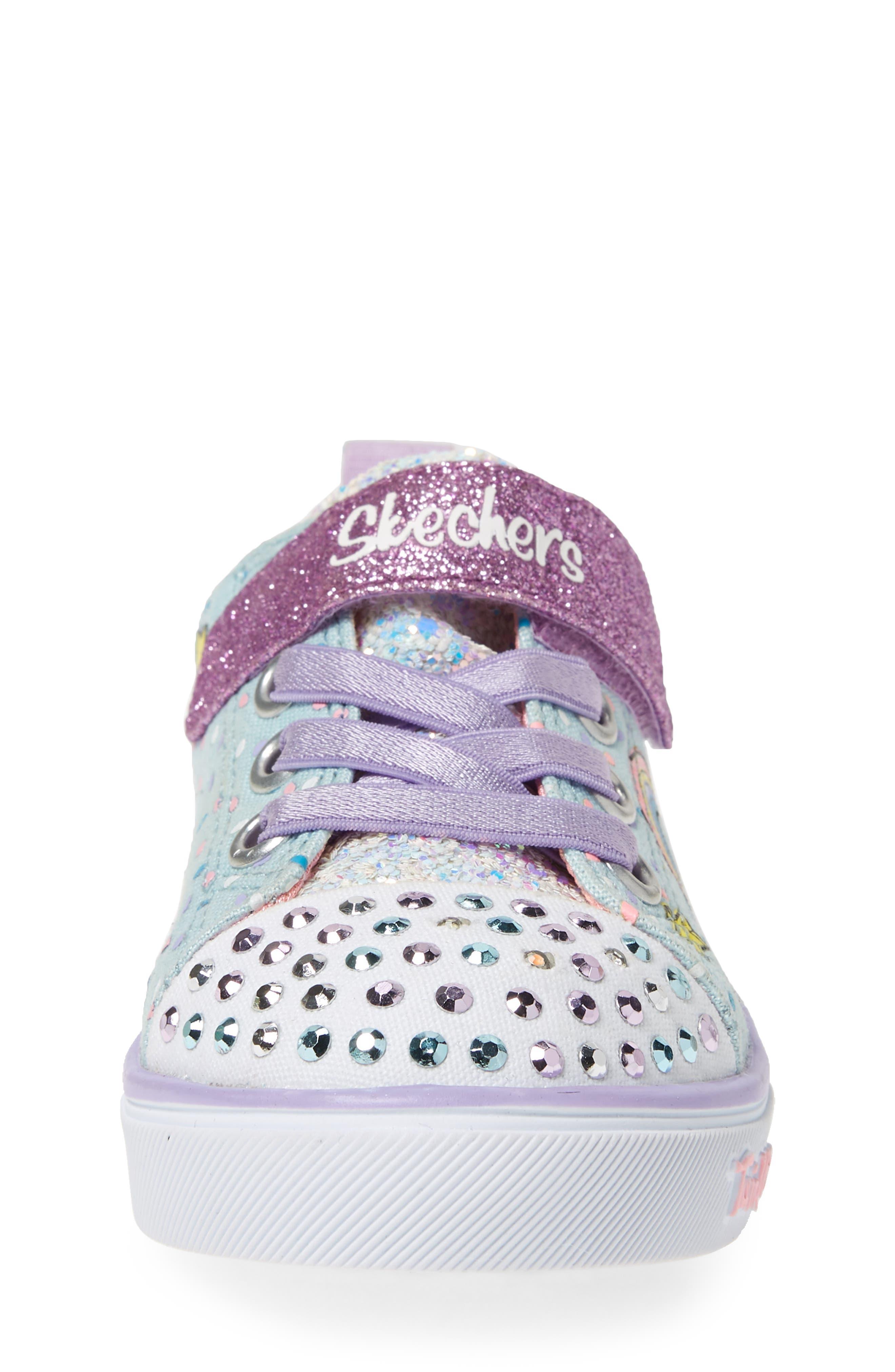 Twinkle Toes Unicorn Light-Up Sneaker,                             Alternate thumbnail 4, color,                             LIGHT BLUE/ MULTI