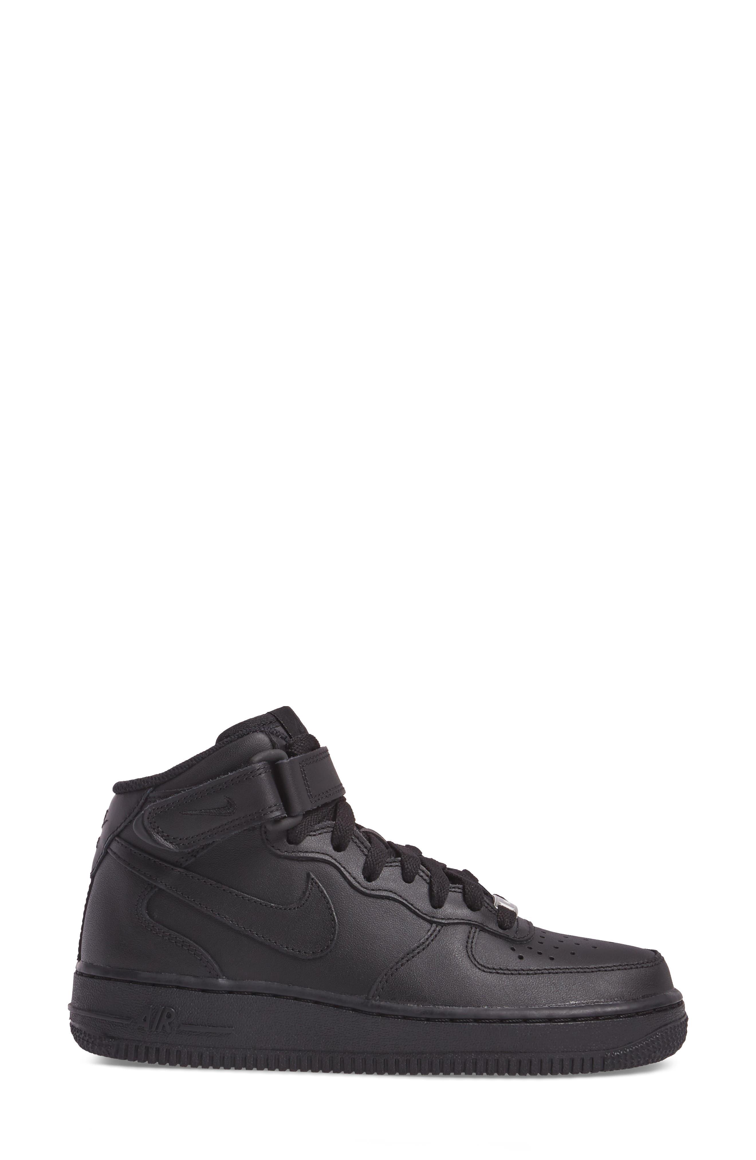 Air Force 1 '07 Mid Sneaker,                             Alternate thumbnail 3, color,                             BLACK/ BLACK