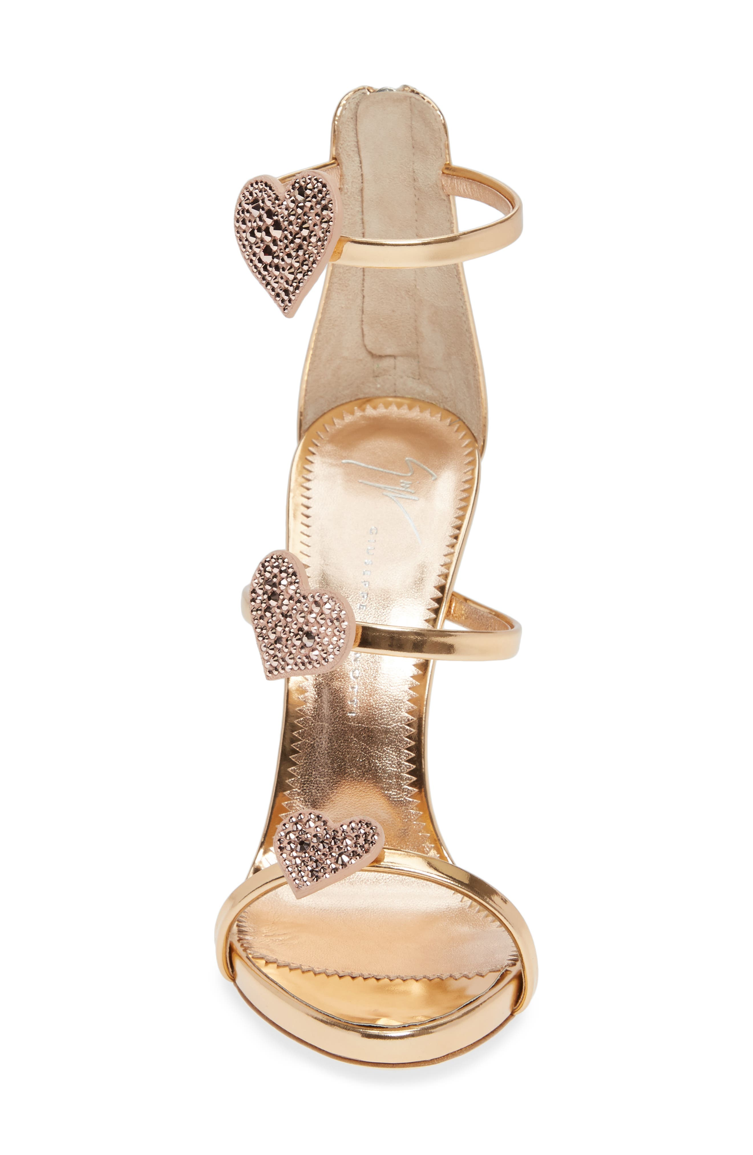 Triple Heart Strappy Sandal,                             Alternate thumbnail 4, color,                             ROSE GOLD