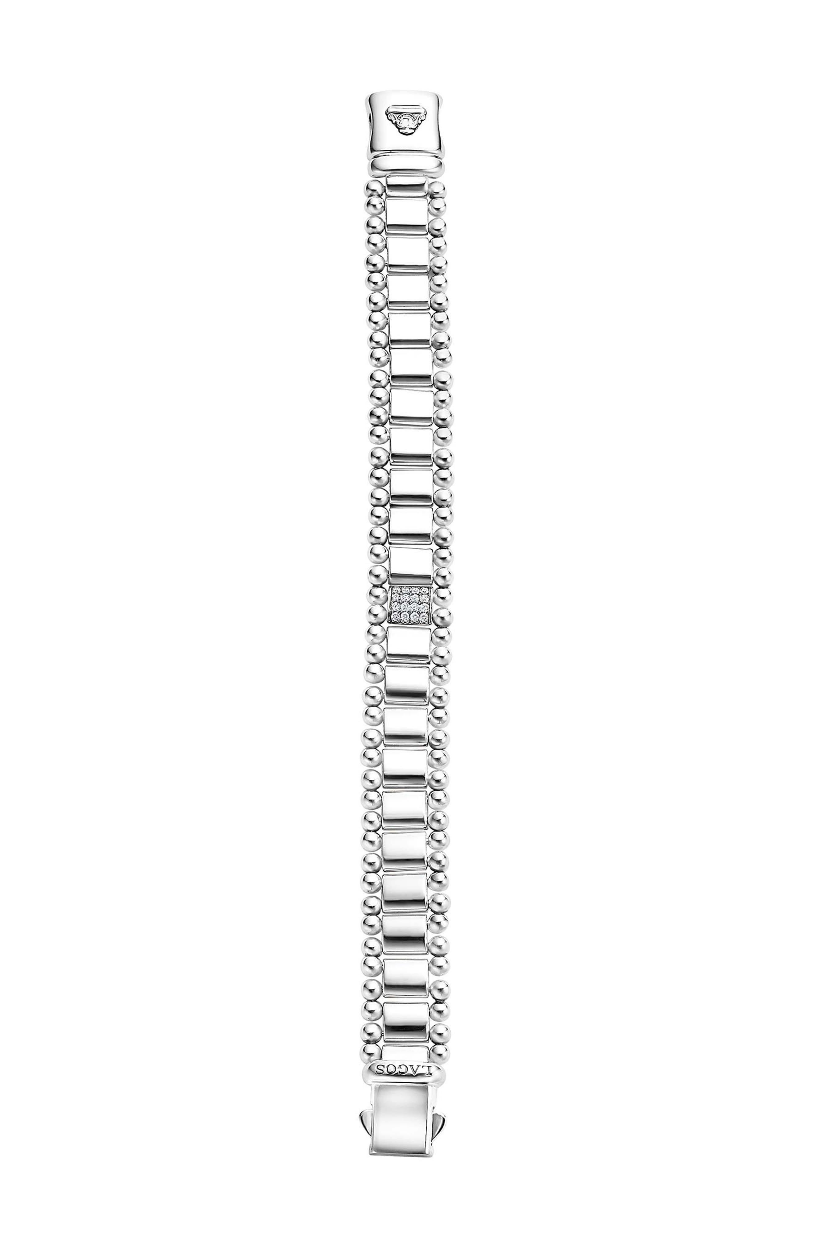 Caviar Spark Pavé Diamond Link Bracelet,                             Alternate thumbnail 2, color,                             SILVER/ DIAMOND