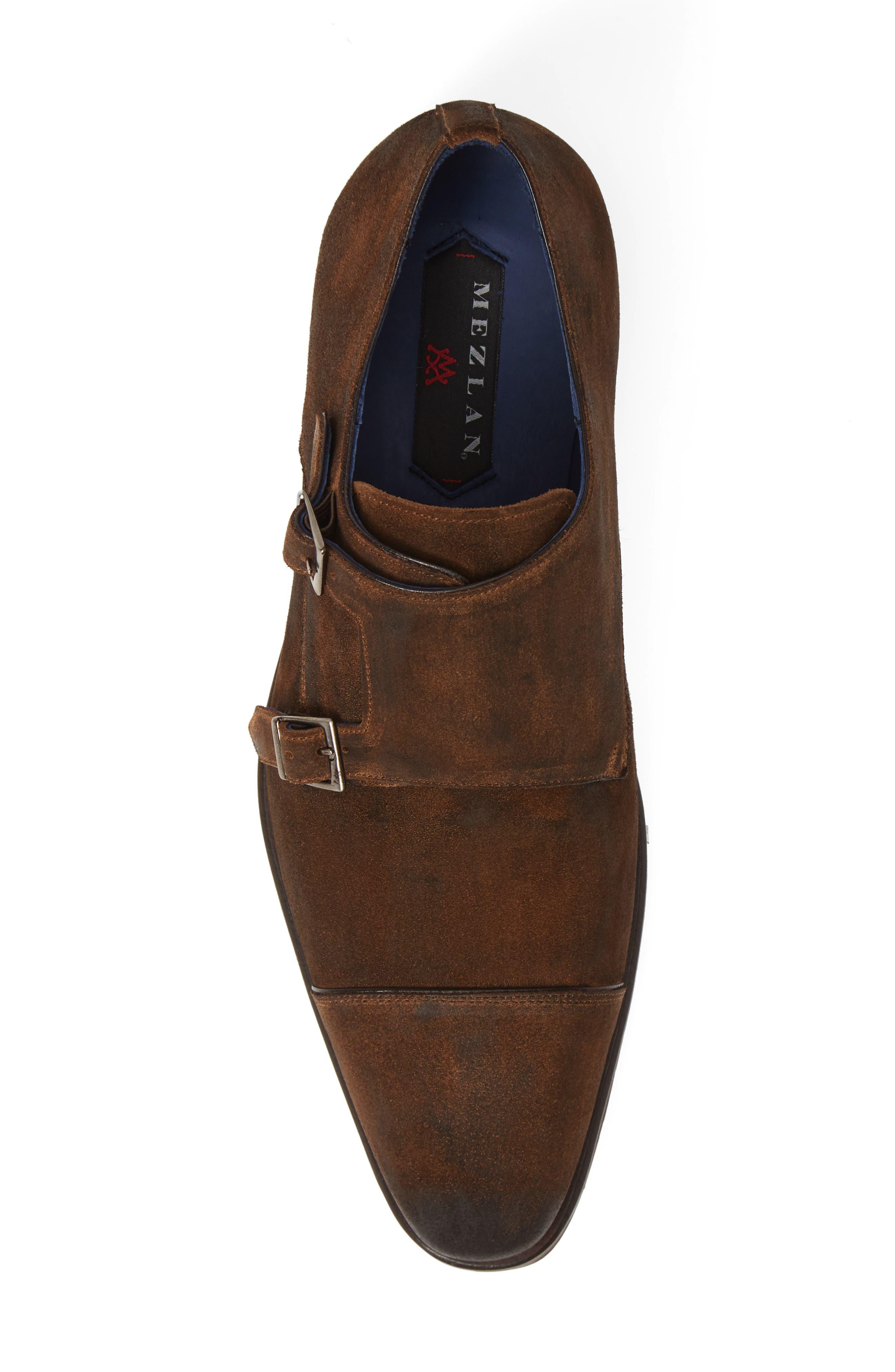 Miguel Double Monk Strap Shoe,                             Alternate thumbnail 5, color,                             TAN SUEDE